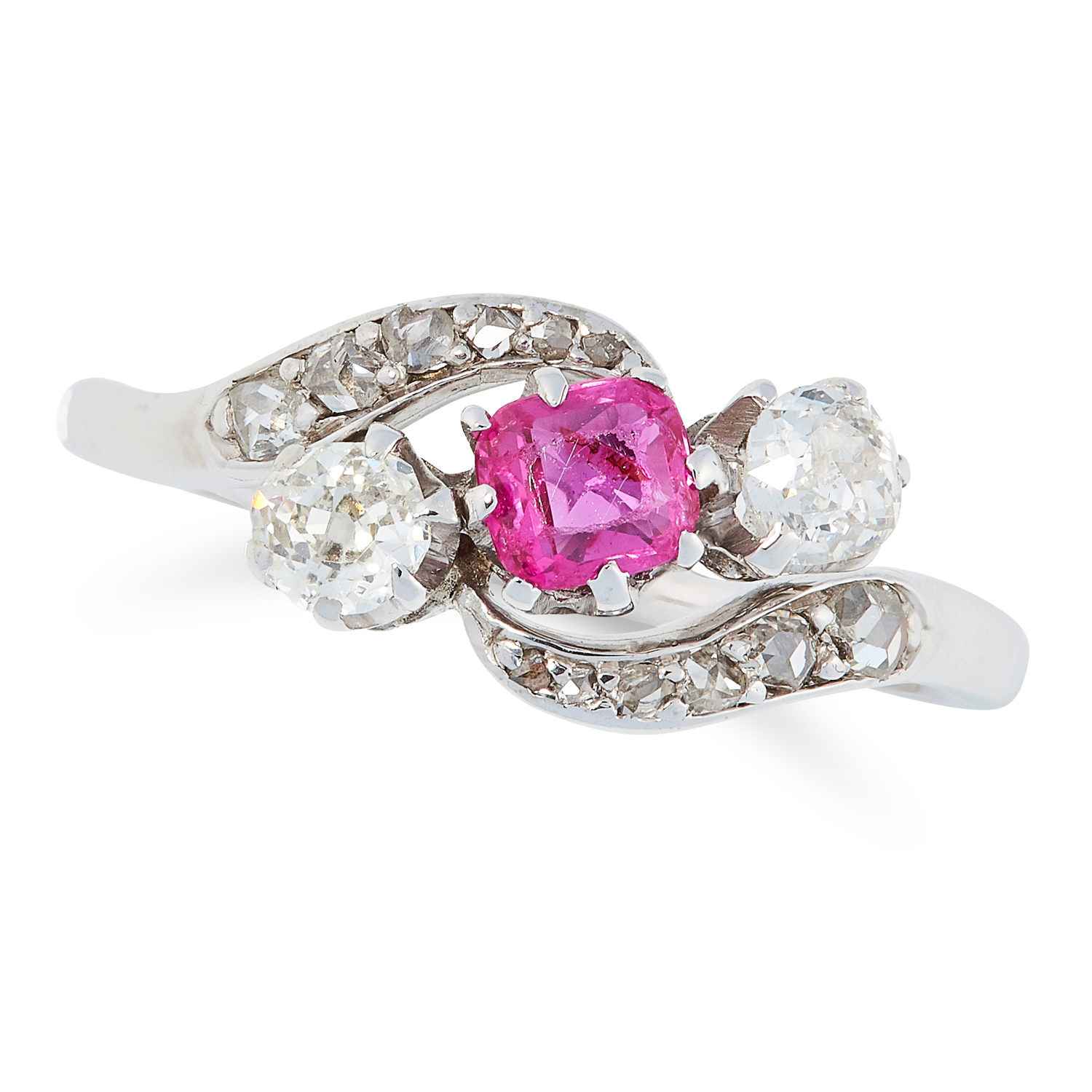 AN ANTIQUE RUBY AND DIAMOND RING, CIRCA 1900 in crossover design, set with a cushion cut ruby, round