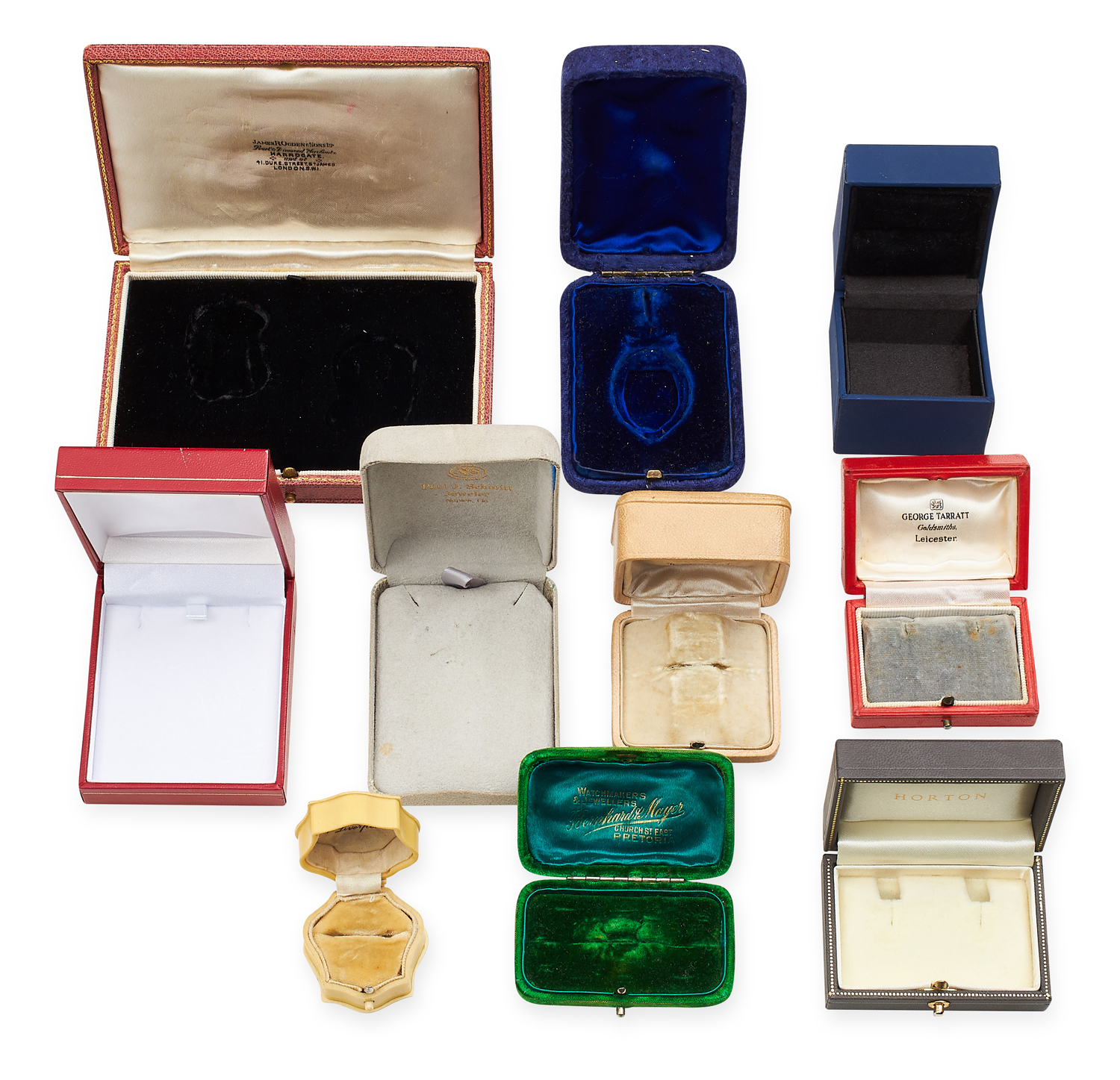 A SELECTION OF TEN VARIOUS ANTIQUE AND LATER JEWELLERY BOXES including some ring, earrings, brooch - Image 2 of 2