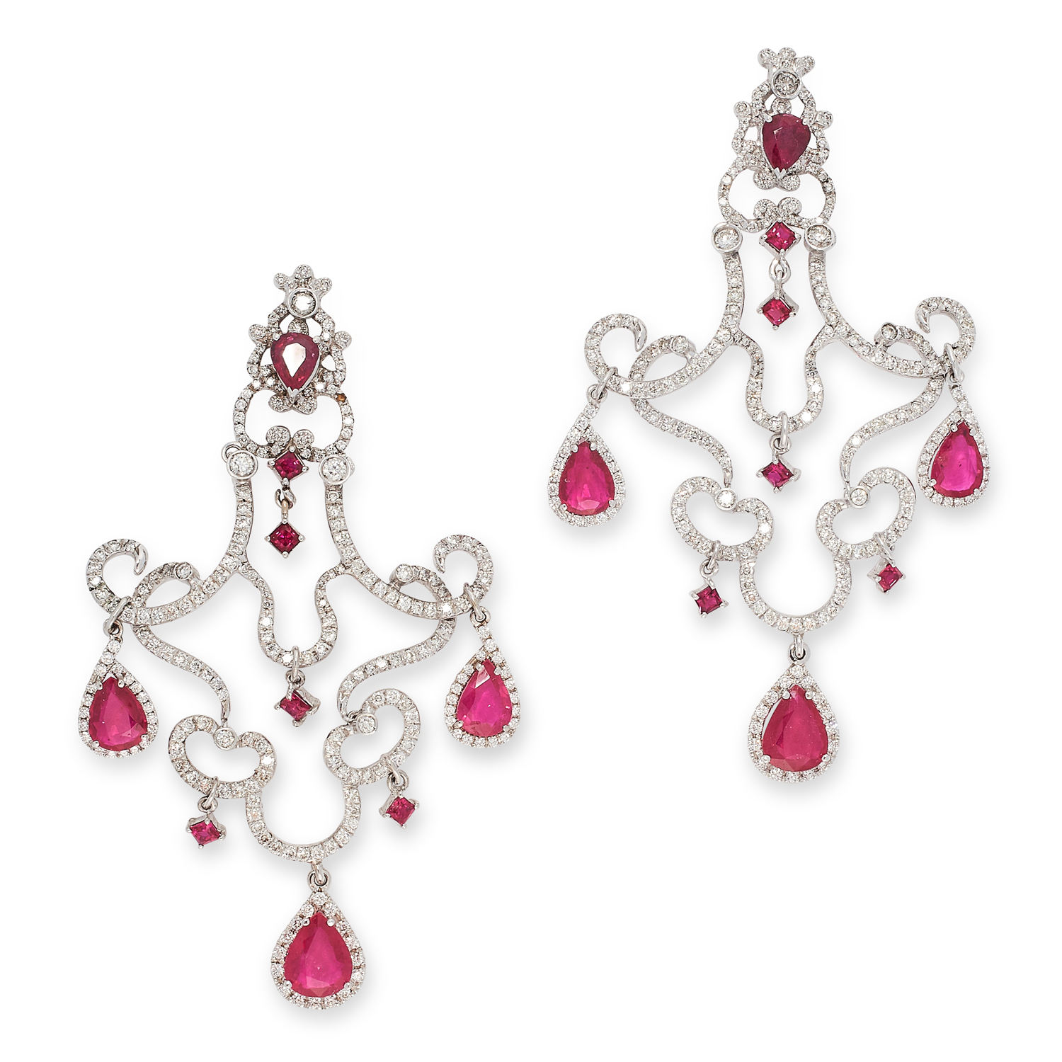 A PAIR OF RUBY AND DIAMOND CHANDELIER EARRINGS in 18ct white gold, the articulated bodies set with