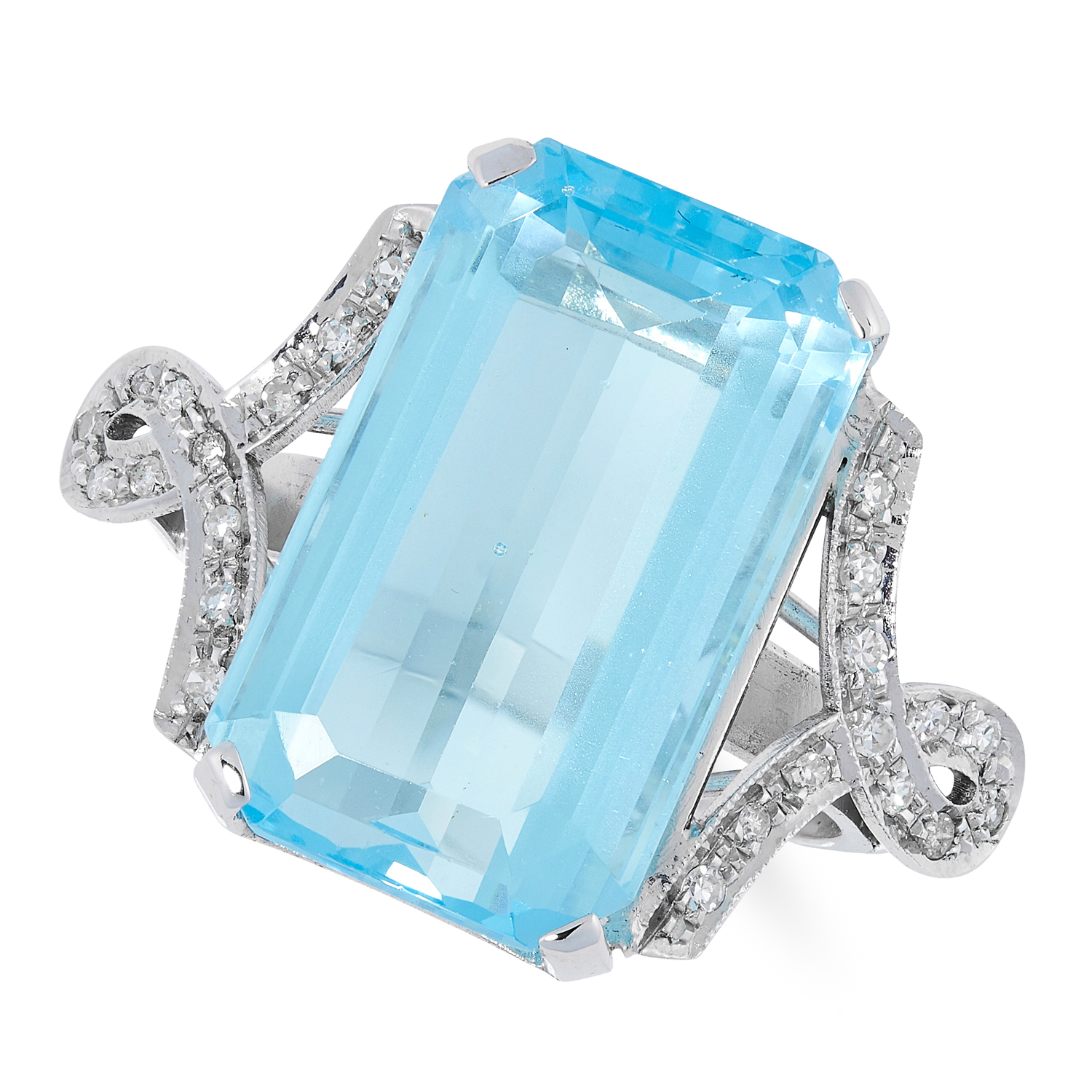 A BLUE TOPAZ AND DIAMOND DRESS RING set with an emerald cut blue topaz of approximately 18.00 carats