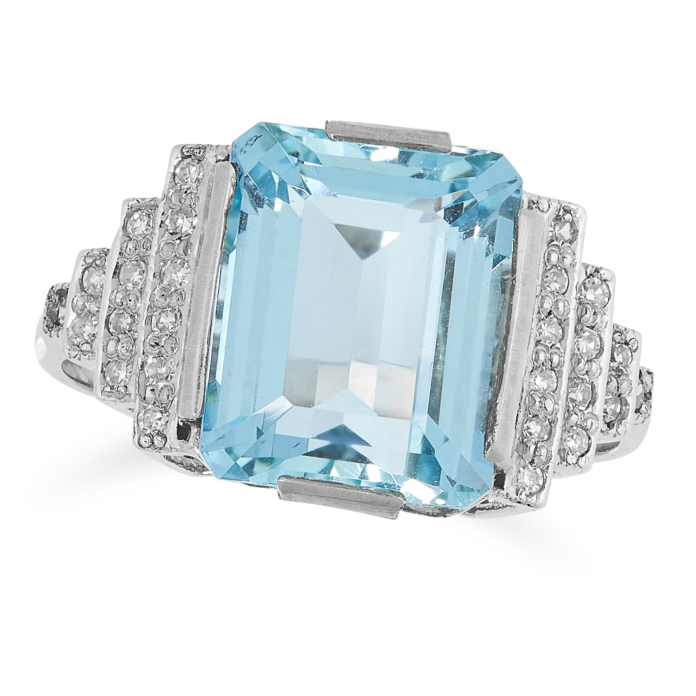 AN AQUAMARINE AND DIAMOND DRESS set with an emerald cut aquamarine and round brilliant cut diamond