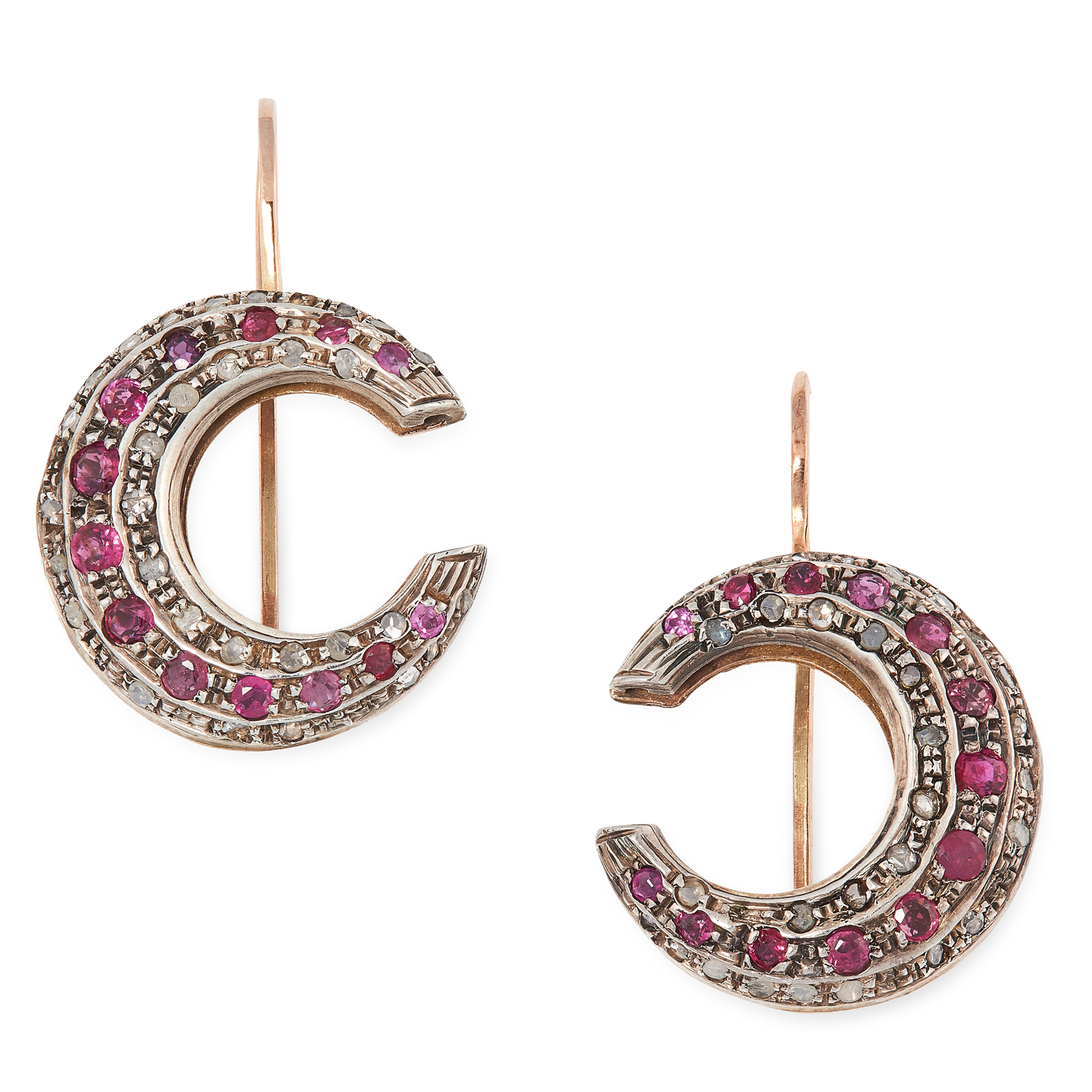 A PAIR OF ANTIQUE CRESCENT MOON EARRINGS set with round cut rubies and rose cut diamonds, 3.5cm, 8.