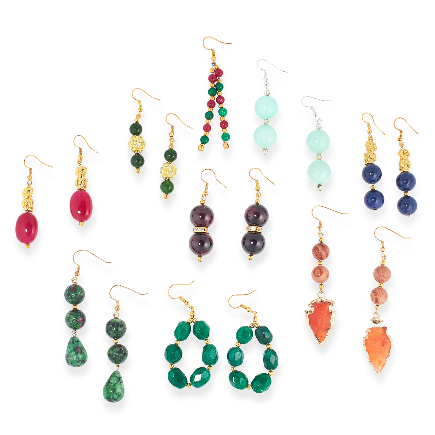 A MIXED LOT OF GEMSTONE BEAD NECKLACES, EARRINGS AND BRACELETS including jade, emerald, lapis - Image 13 of 13