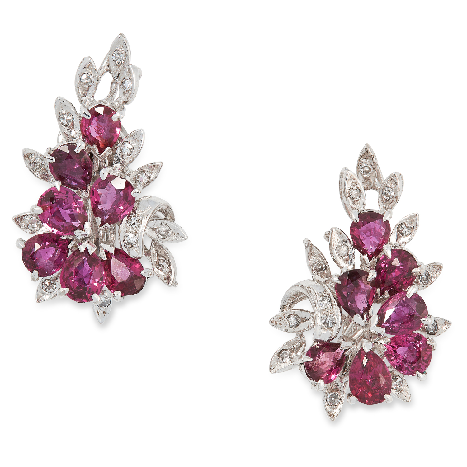 A PAIR OF RUBY AND DIAMOND CLUSTER EARRINGS, CIRCA 1950 in foliate design set with pear cut rubies
