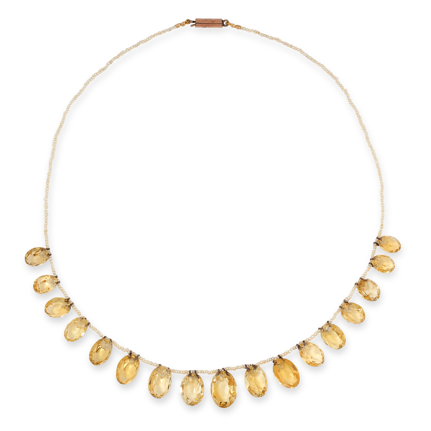 AN ANTIQUE CITRINE AND PEARL NECKLACE, 19TH CENTURY comprising of a single row of seed pearls