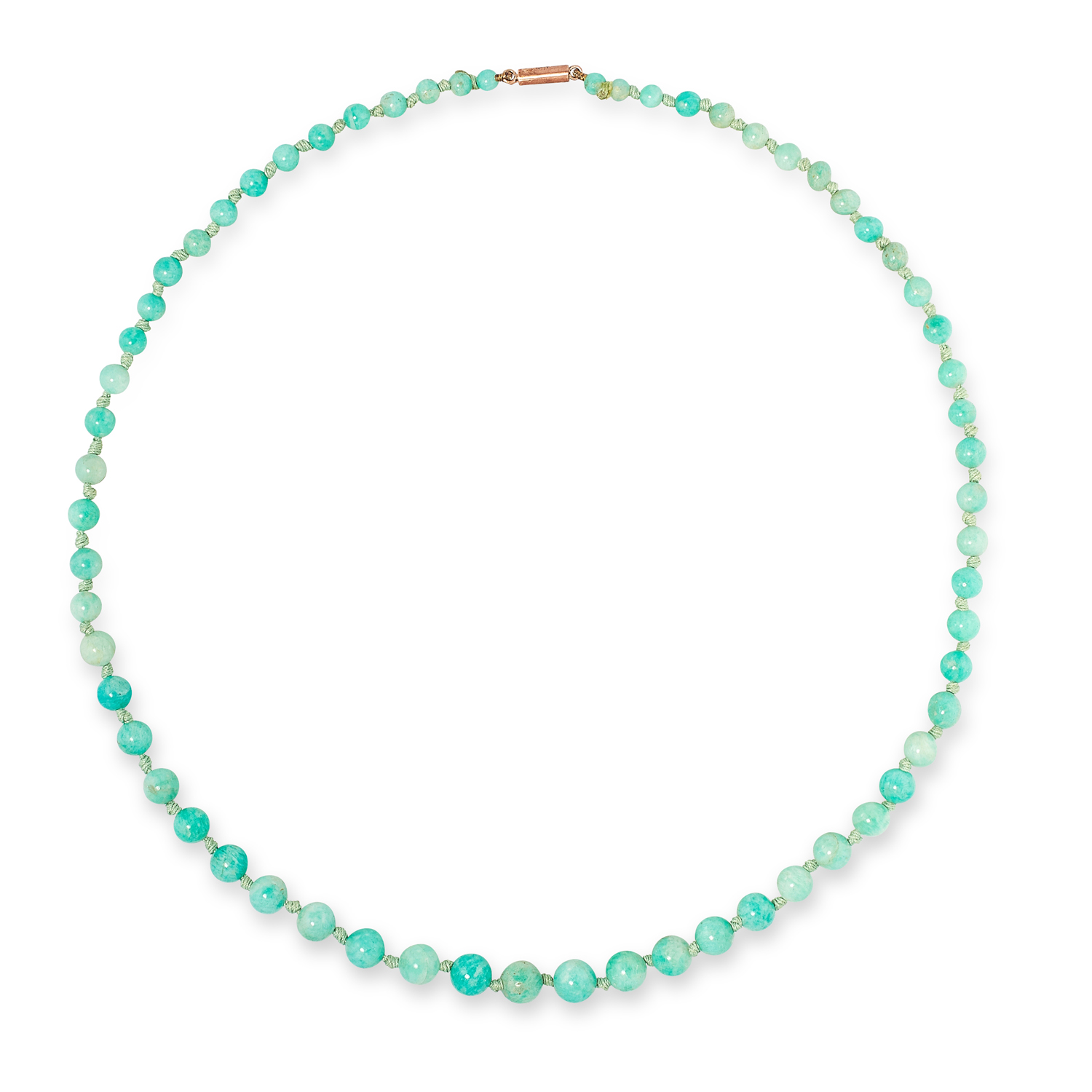 A JADE BEAD NECKLACE comprising of a single row of graduated jade beads, 46cm, 13.0g.