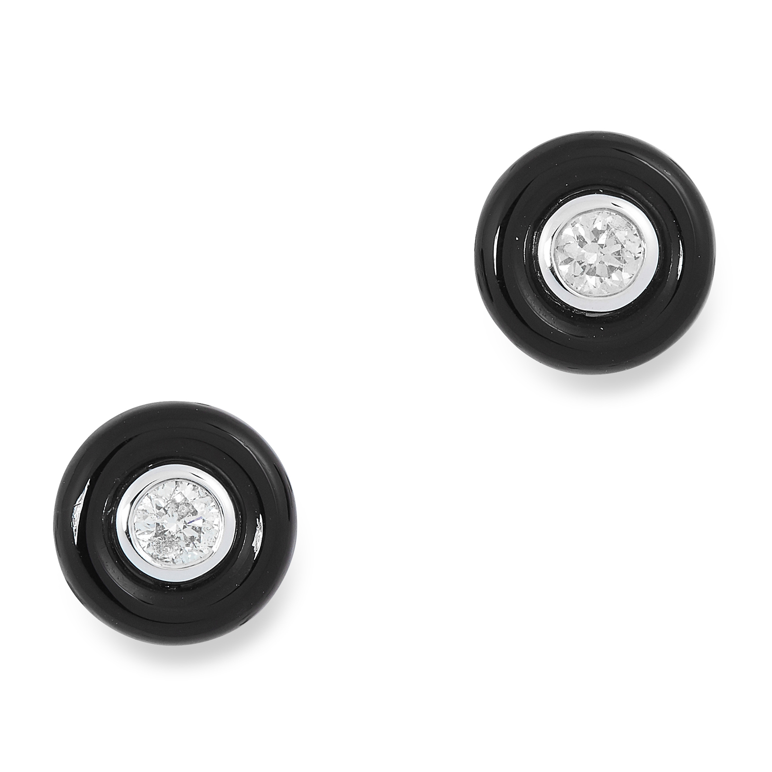 A PAIR OF ONYX AND DIAMOND STUD EARRINGS comprising of a round polished onyx set with a central