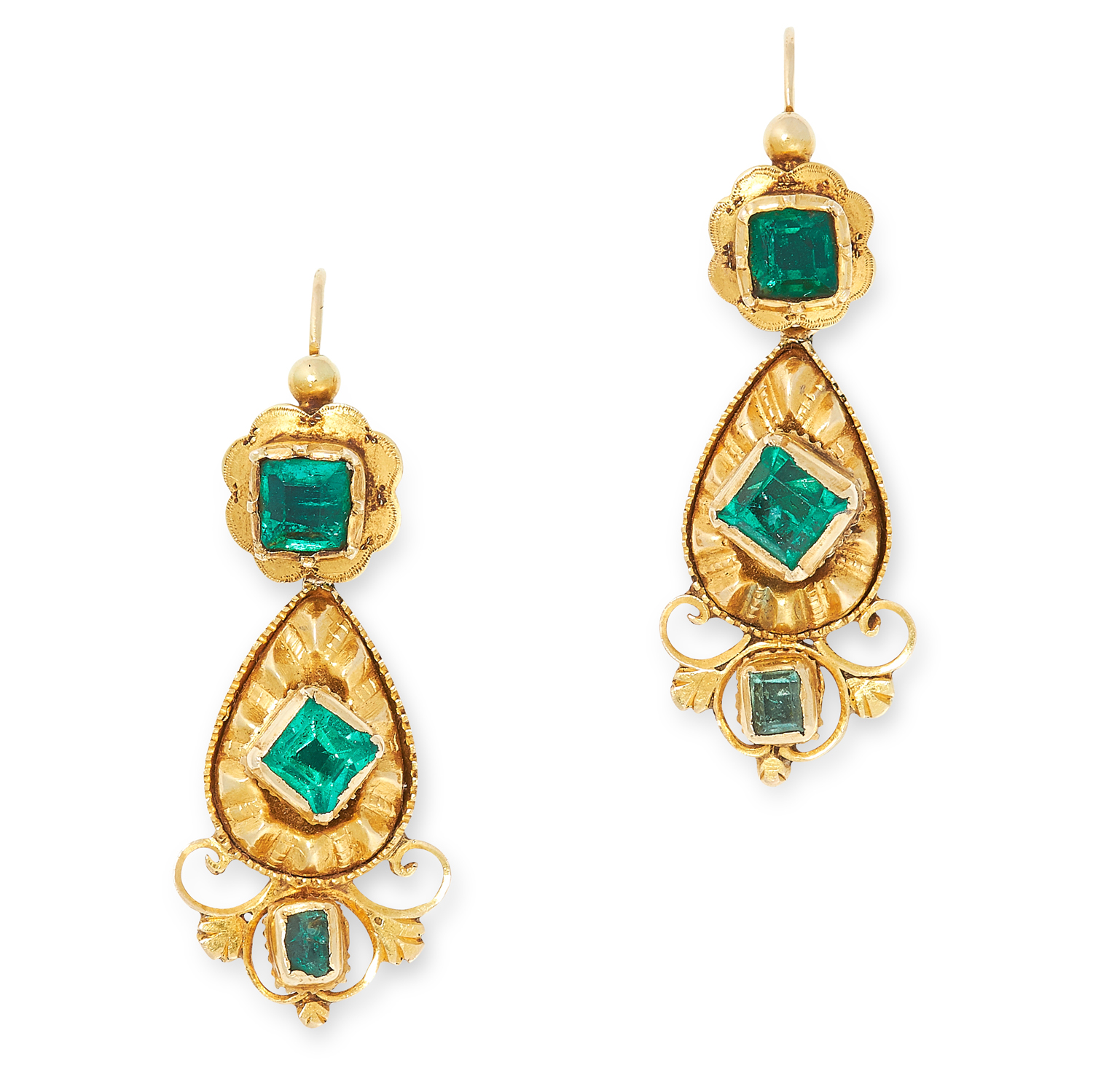 A PAIR OF ANTIQUE EMERALD EARRINGS, SPANISH CIRCA 1800 in high carat yellow gold, the articulated