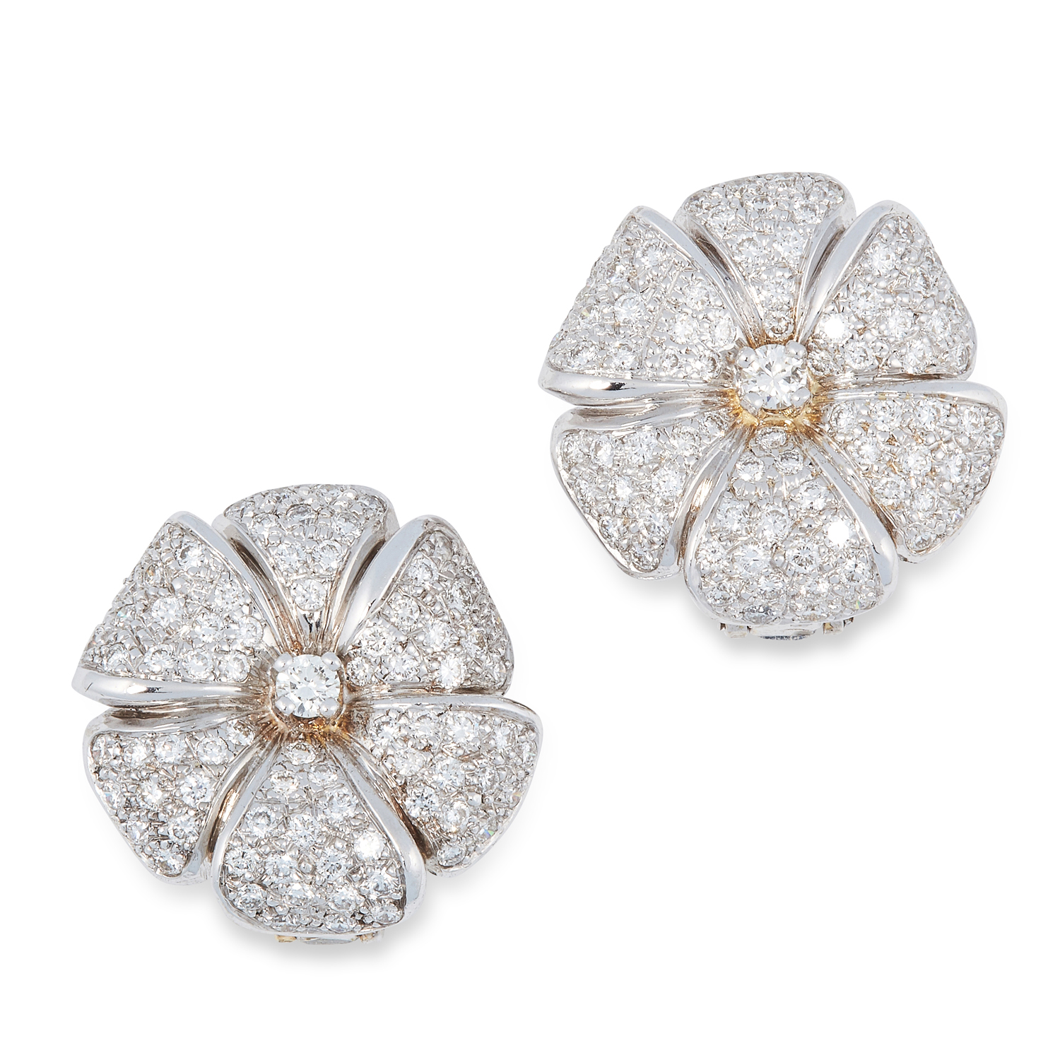 A PAIR OF DIAMOND FLOWER EARRINGS, BEN ROSENFELD in 18ct gold, the petals pave set with round modern