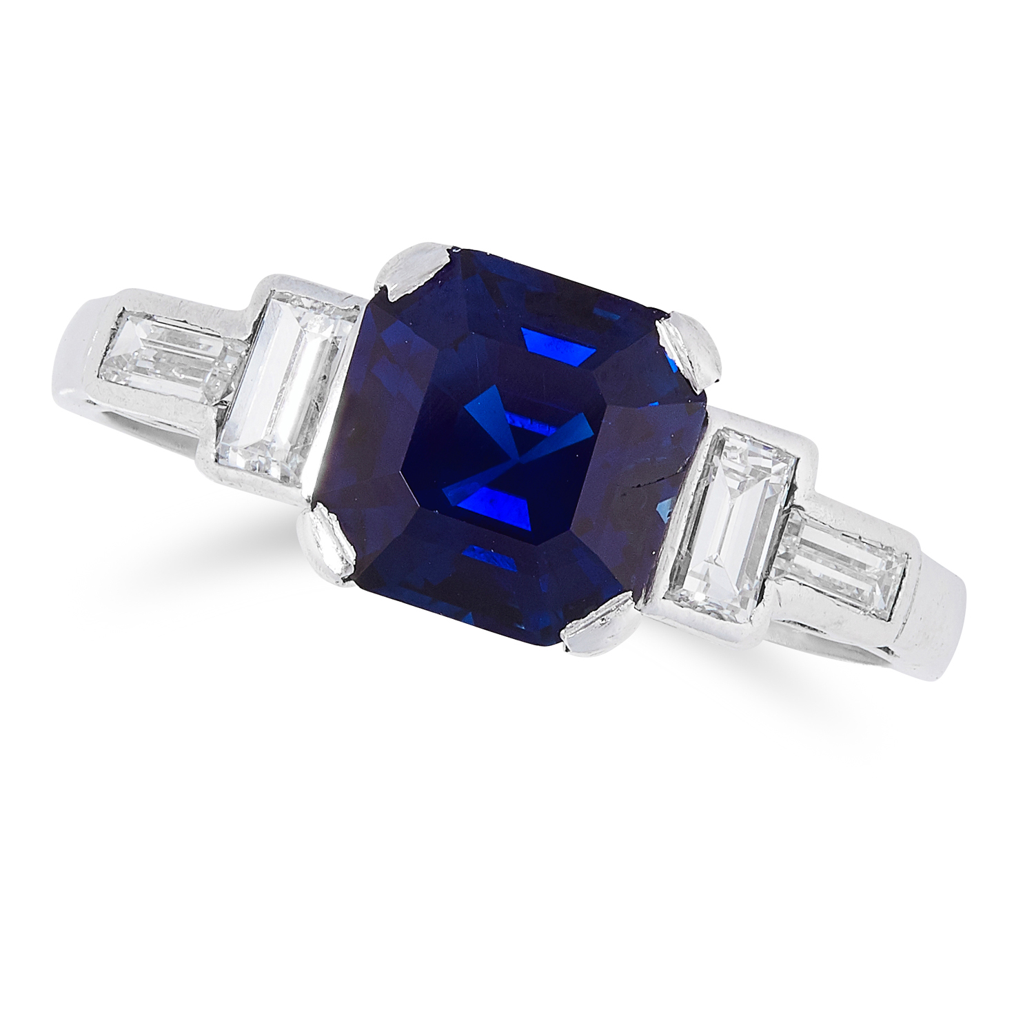 A SAPPHIRE AND DIAMOND RING set with an emerald cut sapphire of approximately 1.80 carats and