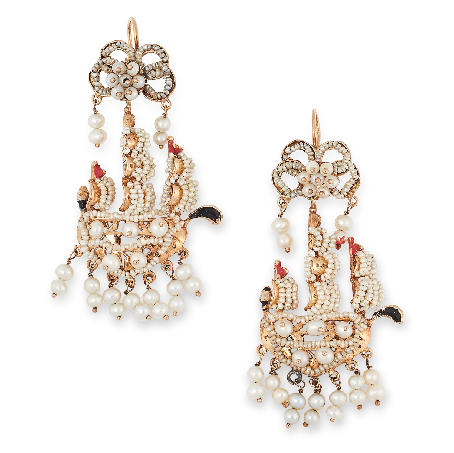 A PAIR OF ANTIQUE PEARL AND ENAMEL GALLEON SHIP EARRINGS in yellow gold, each designed as a three