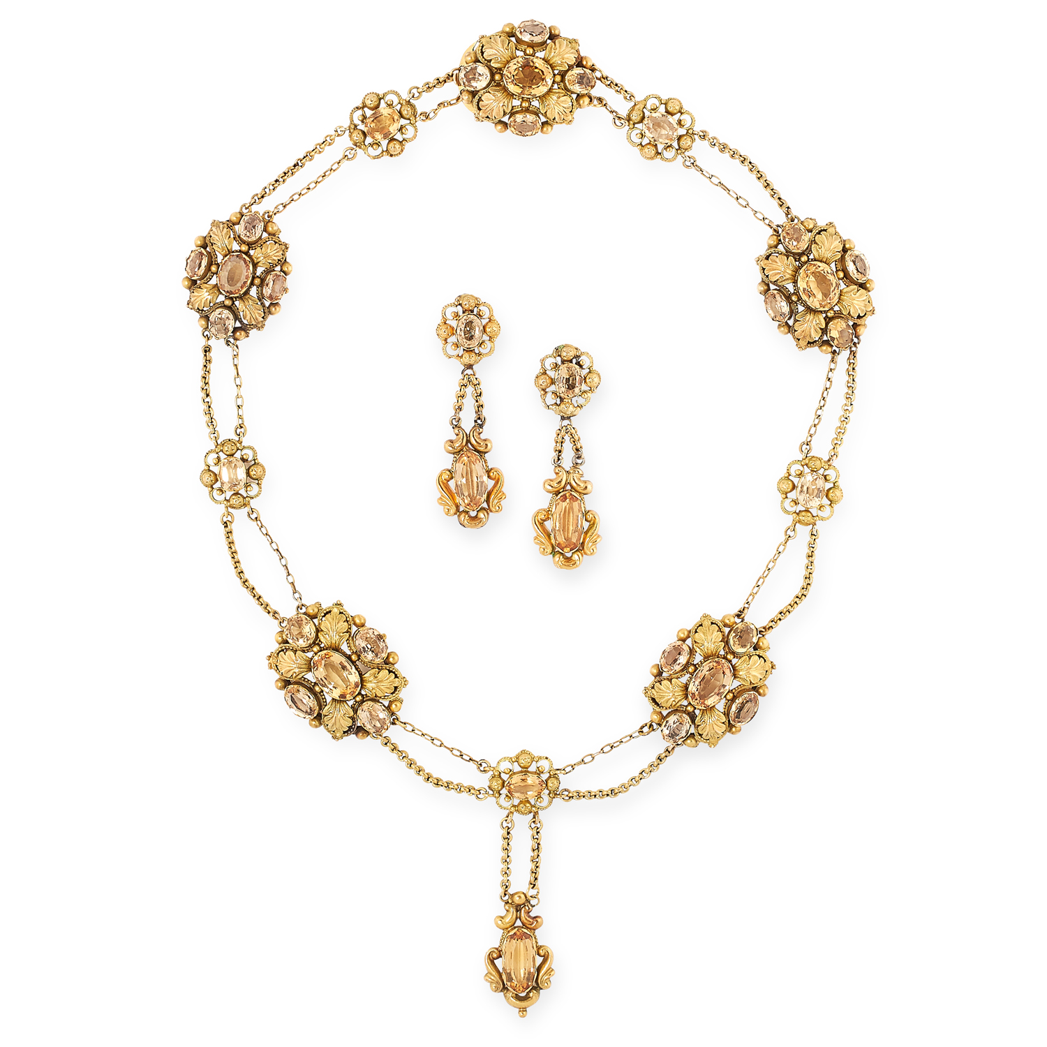 AN ANTIQUE IMPERIAL TOPAZ EARRING AND NECKLACE SUITE, 19TH CENTURY in yellow gold, each variously