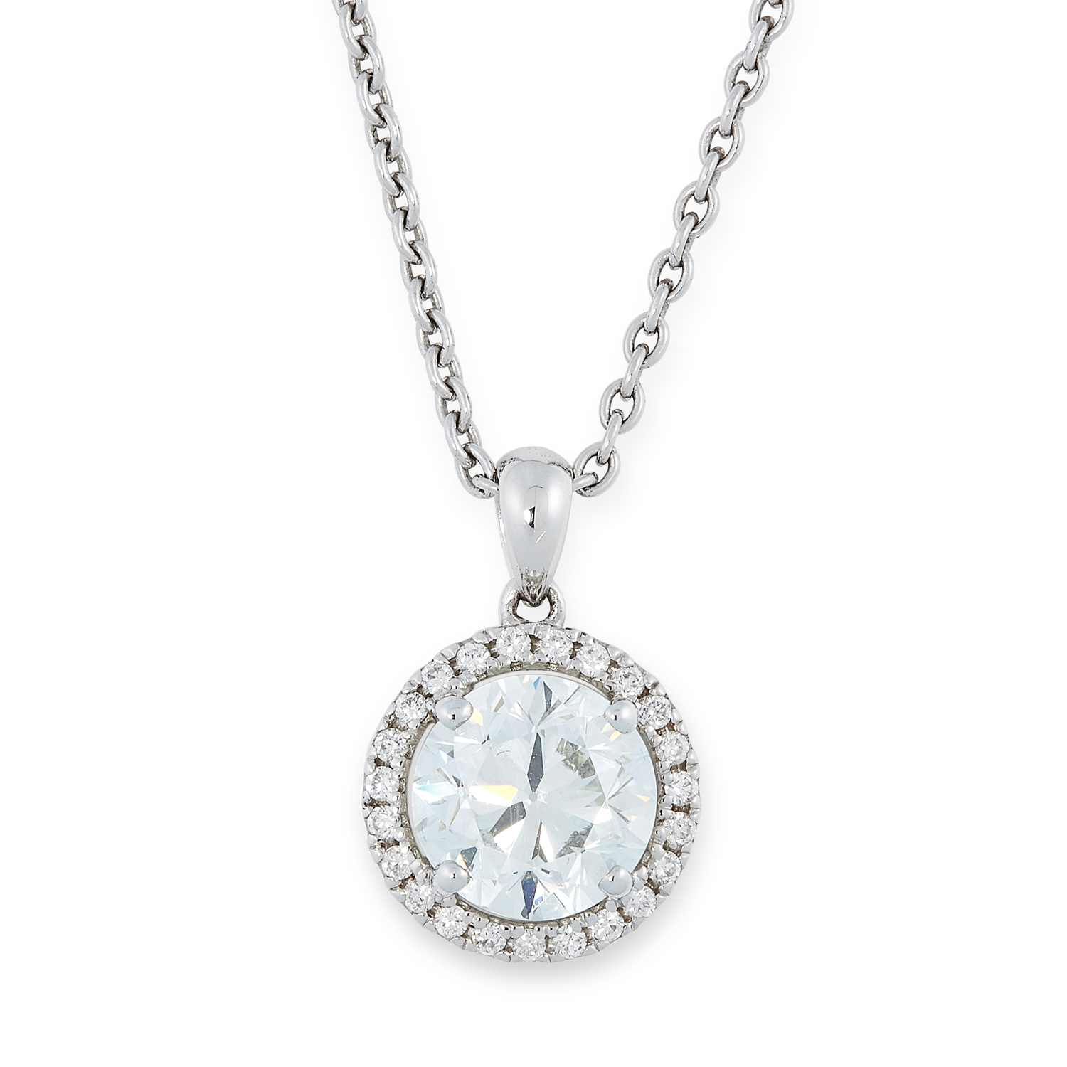 A 2.00 CARAT DIAMOND PENDANT AND CHAIN set with a central round brilliant cut diamond of 2.00