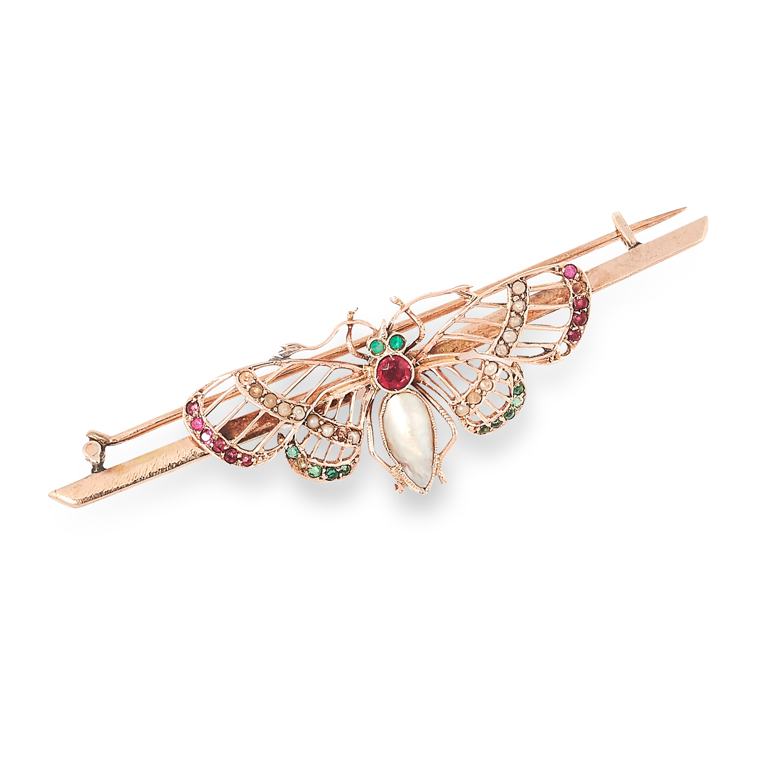 AN ANTIQUE GEMSET BUTTERFLY BROOCH set with pearls, round cut rubies and emeralds, 6.7cm, 5.6g.