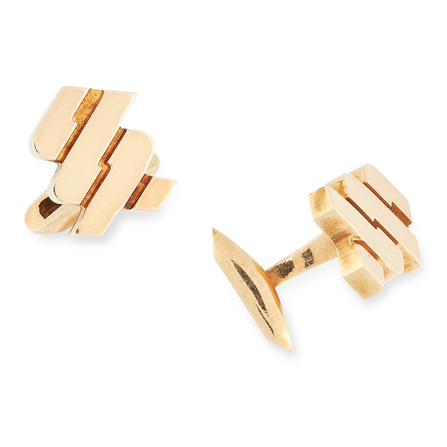 A PAIR OF CUFFLINKS, 1977 in 18cr yellow gold, in twisted design, signed AC.Co, 1.9cm, 25.4g.
