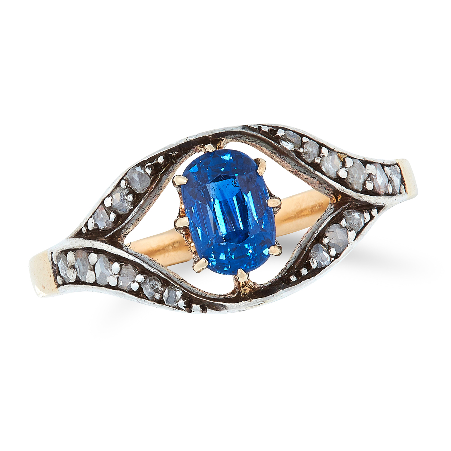 AN ANTIQUE SAPPHIRE AND DIAMOND RING set with an oval cut sapphire in a border of rose cut diamonds,