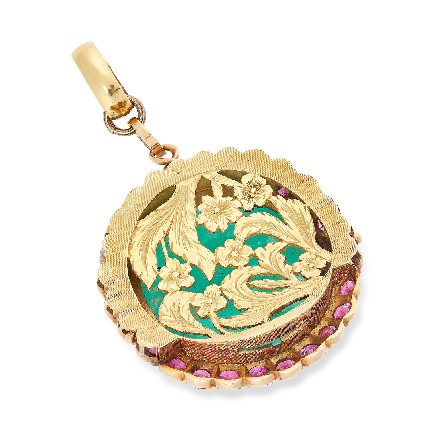 AN ANTIQUE EMERALD AND RUBY PENDANT in yellow gold, comprising of a cabochon cut emerald of 78.10 - Image 2 of 2
