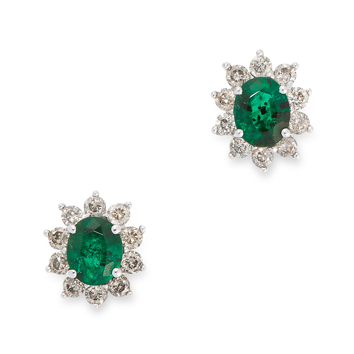 A PAIR OF EMERALD AND DIAMOND CLUSTER EARRINGS set with an oval cut emerald in a cluster of round