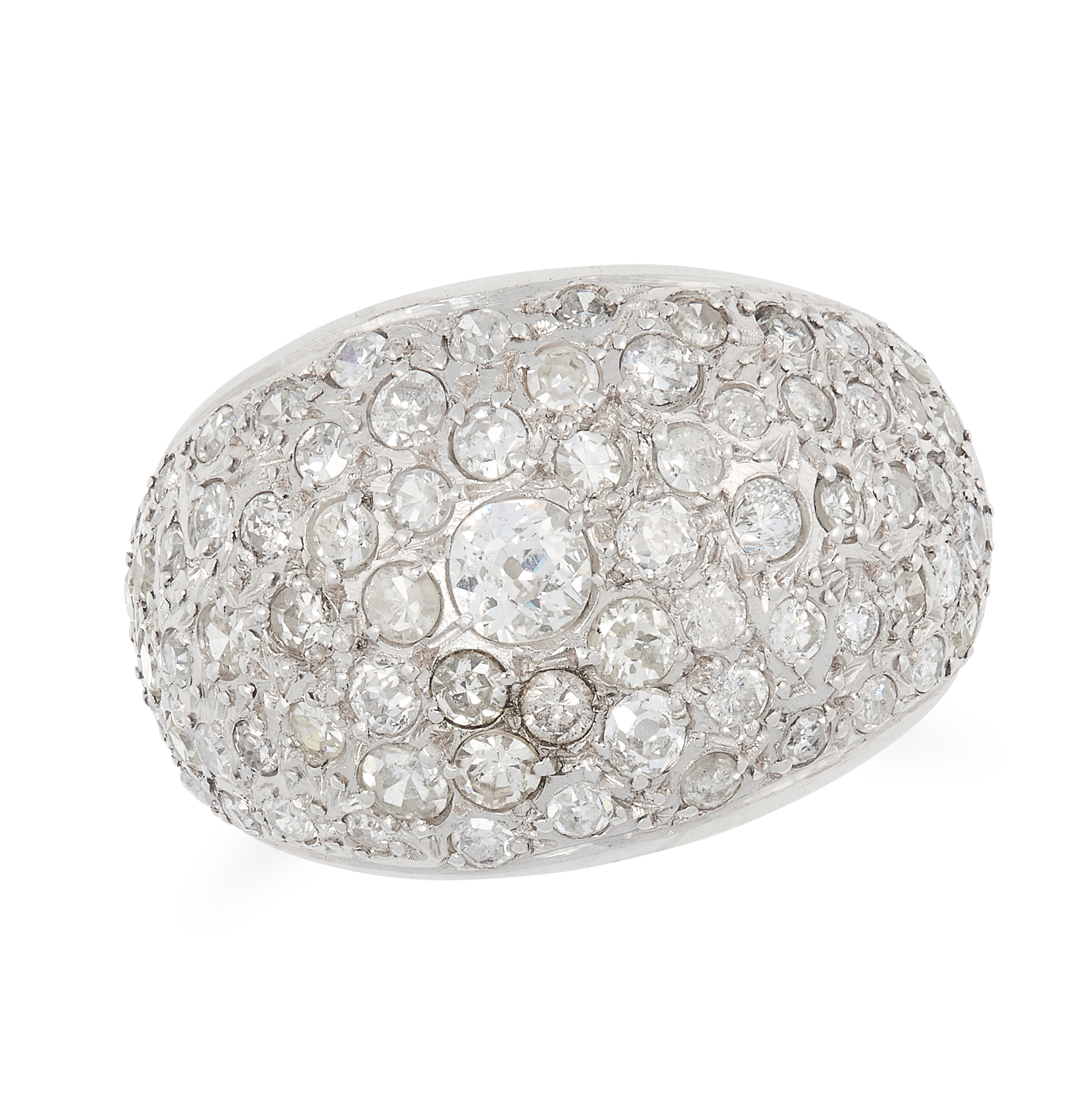A DIAMOND BOMBE RING set with old and round cut diamonds, size O / 7, 9.4g.