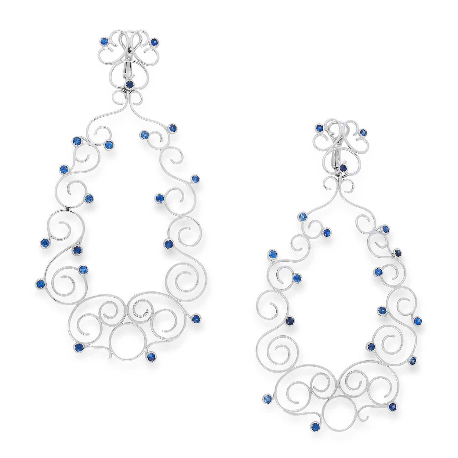 A PAIR OF SAPPHIRE EARRINGS in open framework design comprising of scrolls, set with round cut