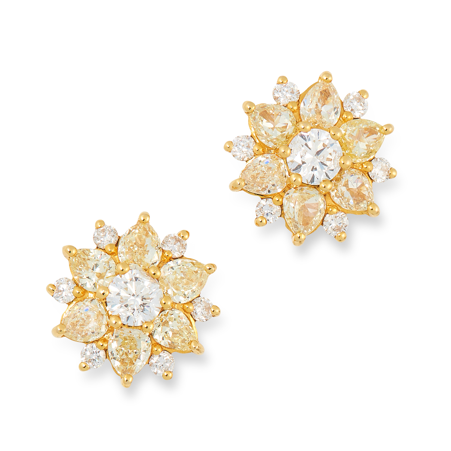 A PAIR OF YELLOW AND WHITE DIAMOND CLUSTER EARRINGS set with pear modern brilliant cut diamonds