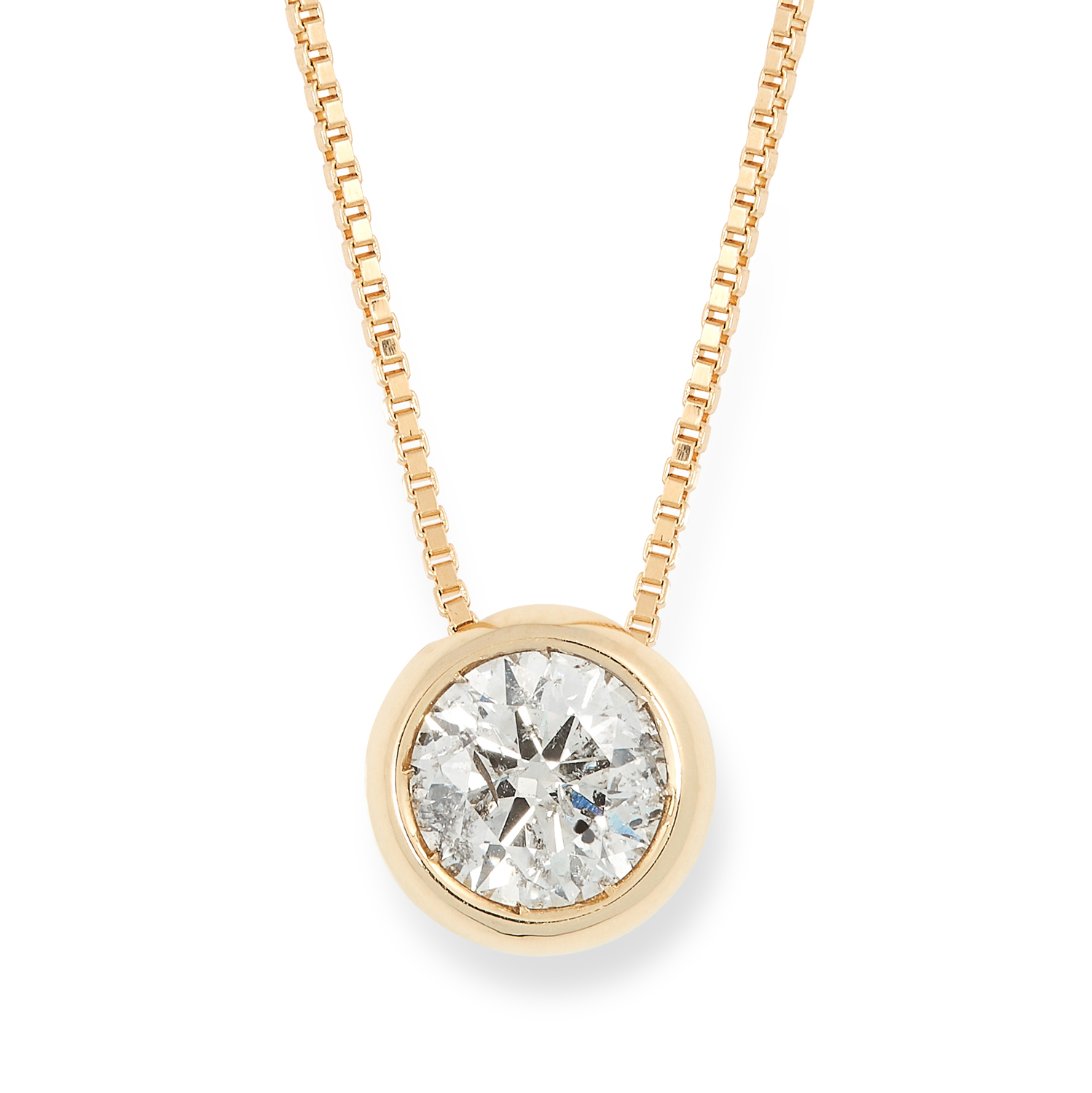 A 1.03 CARAT DIAMOND PENDANT AND CHAIN set with a round modern brilliant cut diamond of 1.03 carats,