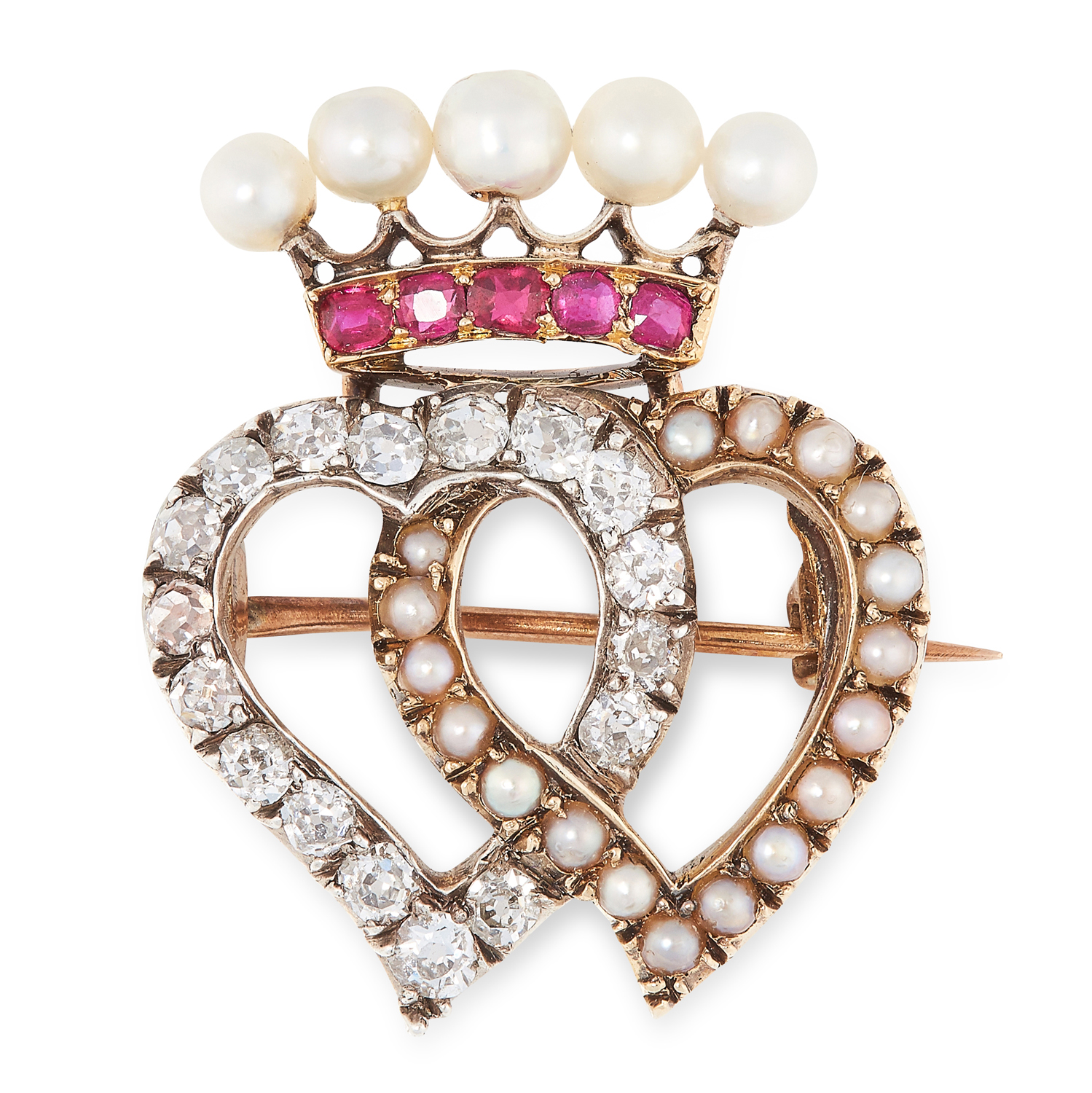 AN ANTIQUE PEARL, RUBY AND DIAMOND SWEETHEART BROOCH, 19TH CENTURY designed as two interlocking