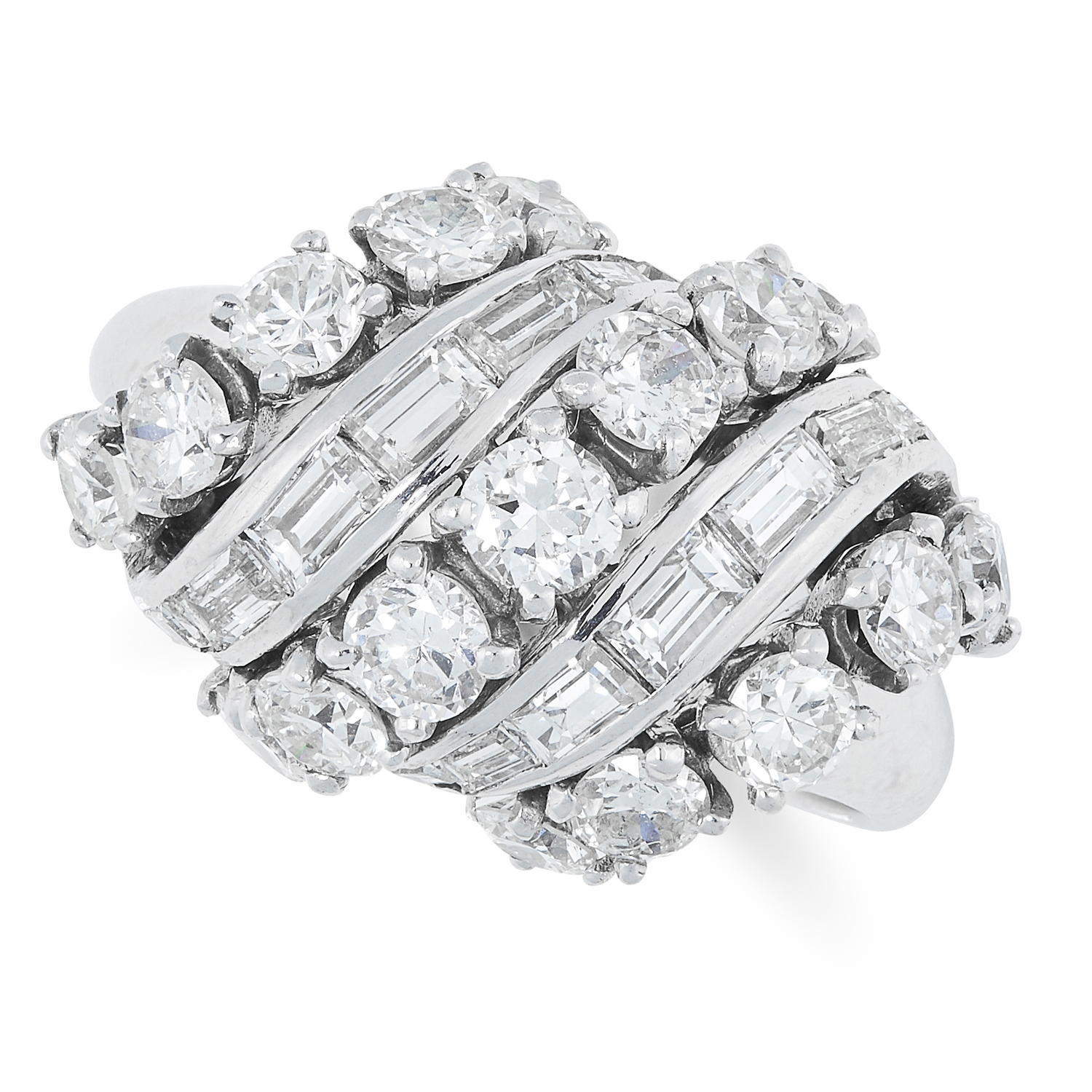 A DIAMOND DRESS RING, VAN CLEEF & ARPELS set with round brilliant and baguette cut diamonds,