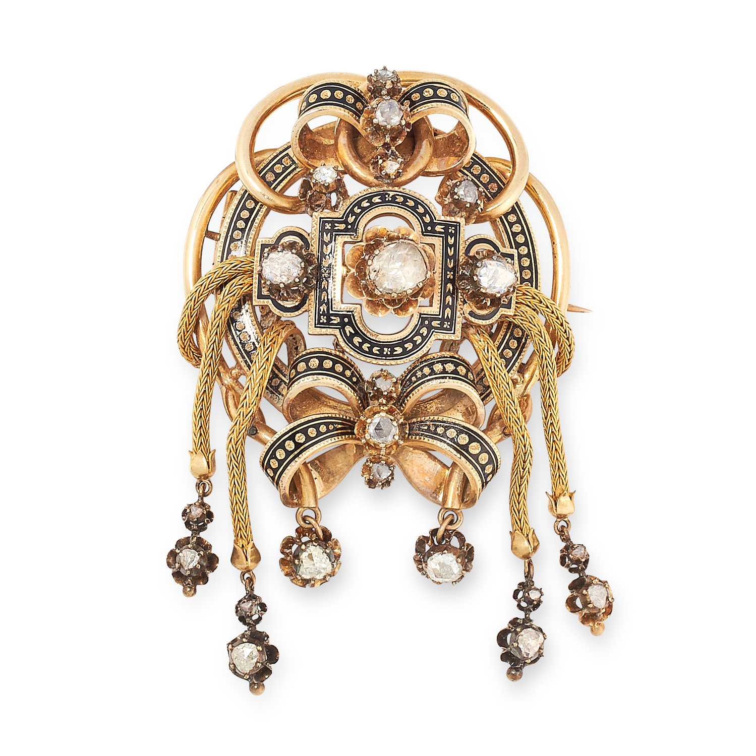 AN ANTIQUE DIAMOND AND ENAMEL TASSEL BROOCH, SPANISH 19TH CENTURY in yellow gold, set with a trio of