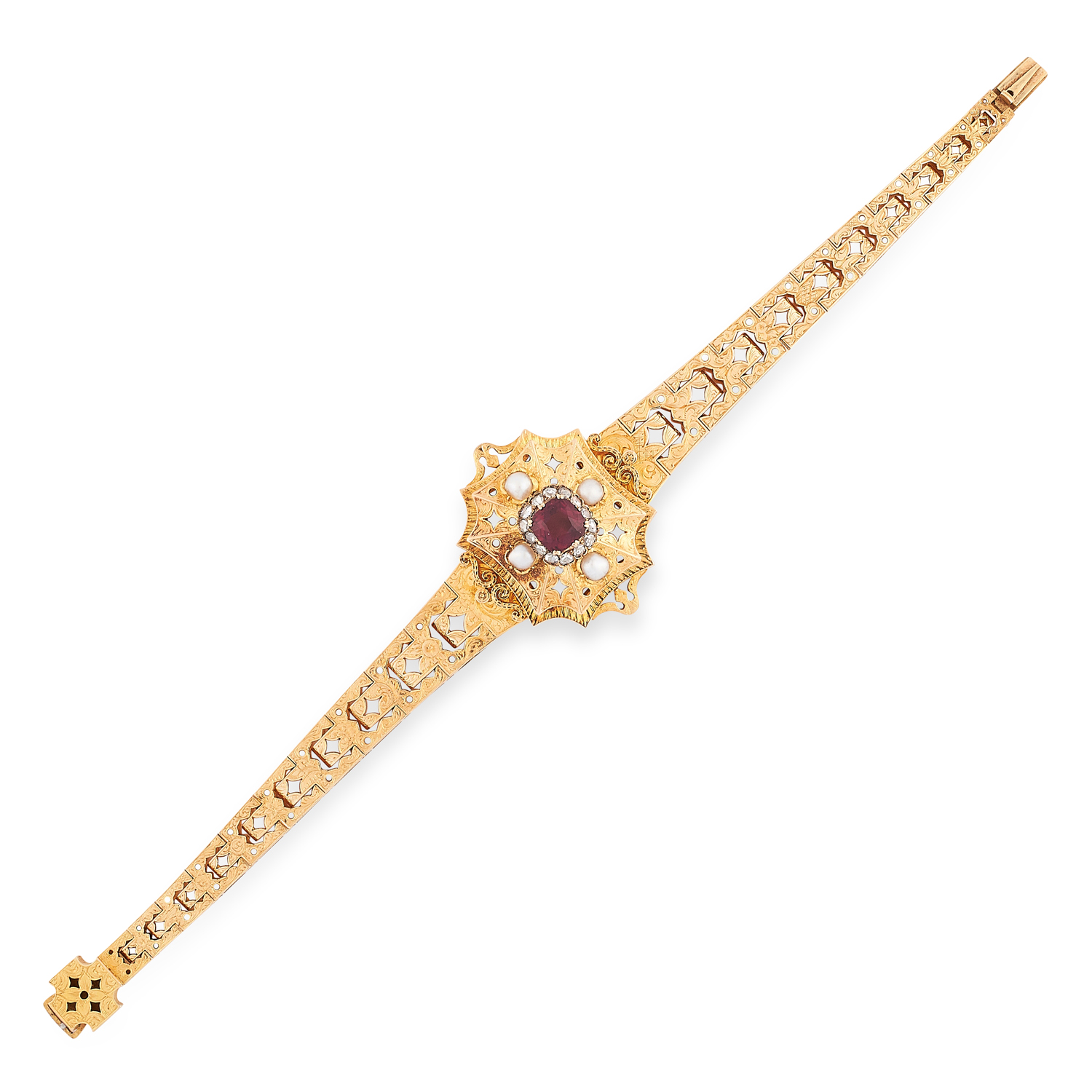 AN ANTIQUE GARNET, DIAMOND AND PEARL BRACELET, 19TH CENTURY in yellow gold, the tapering body with