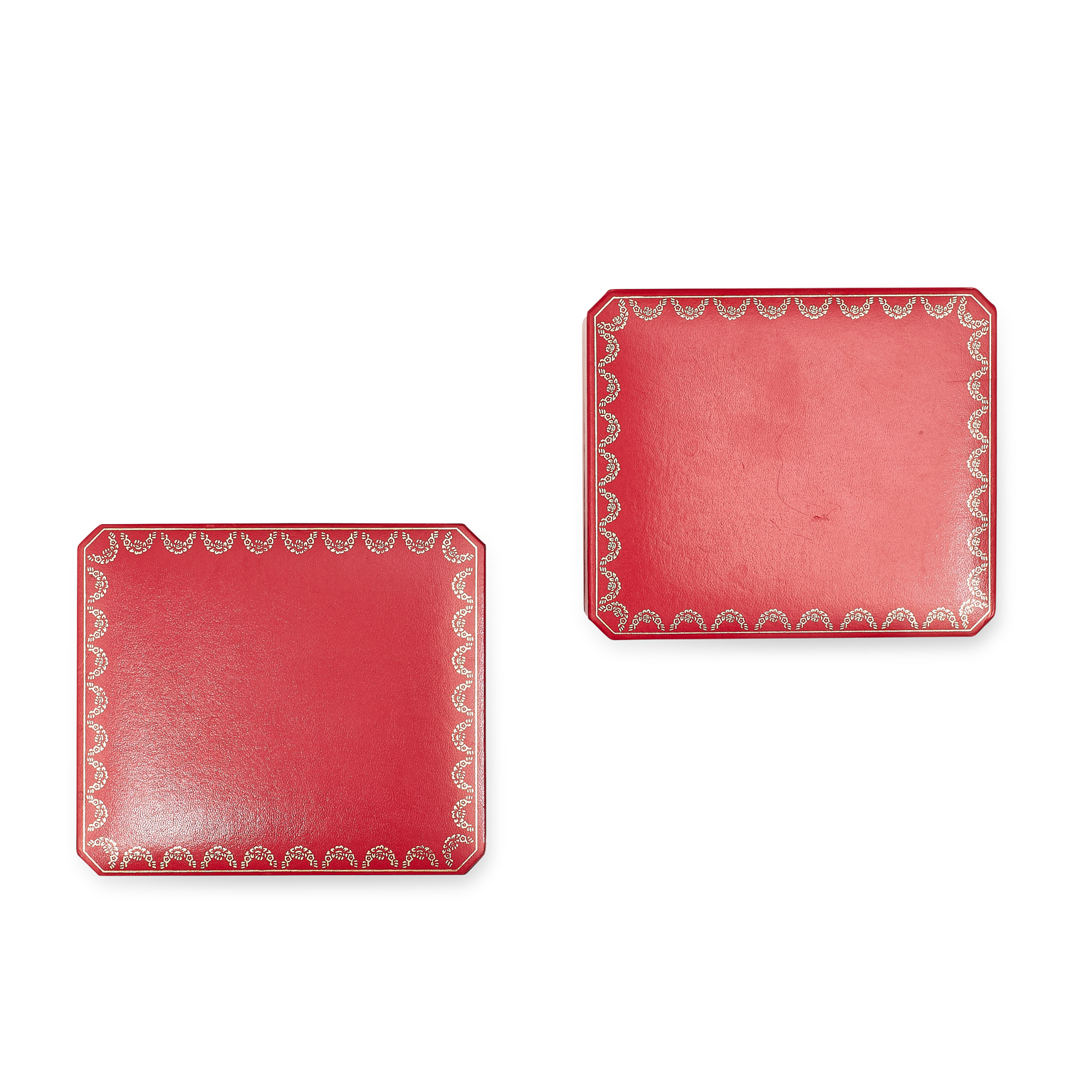 TWO LEATHER WRIST WATCH BOXES, CARTIER