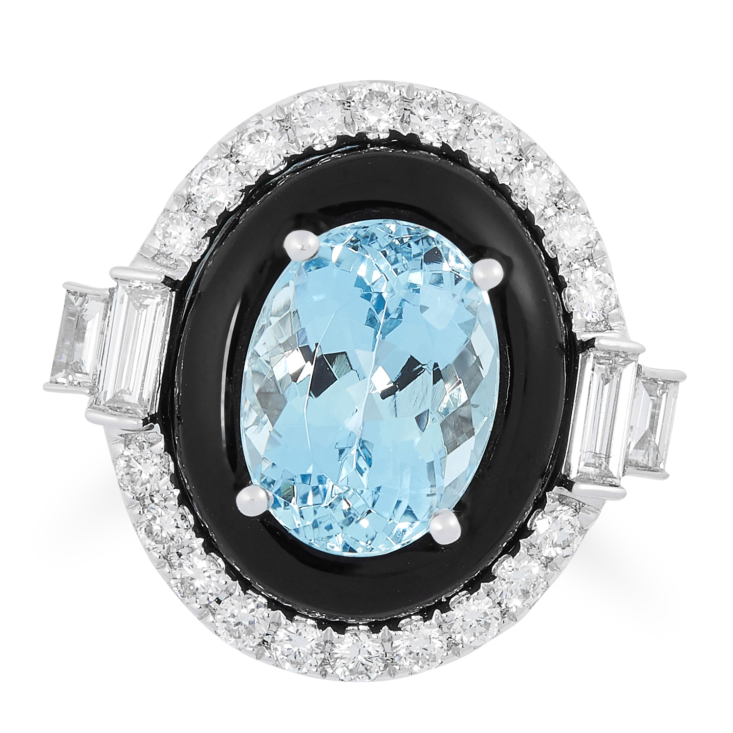 AN AQUAMARINE, ONYX AND DIAMOND DRESS RING set with an oval mixed cut aquamarine, in a concentric