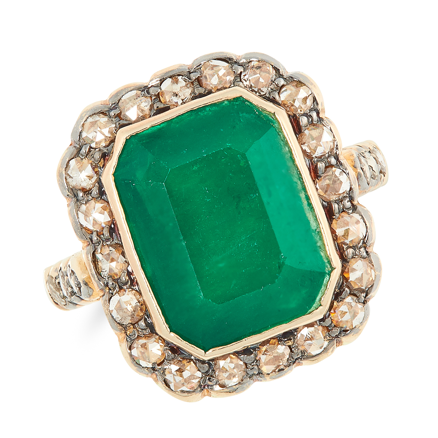 AN EMERALD AND DIAMOND CLUSTER RING set with an emerald cut emerald of 4.35 carats, in a cluster