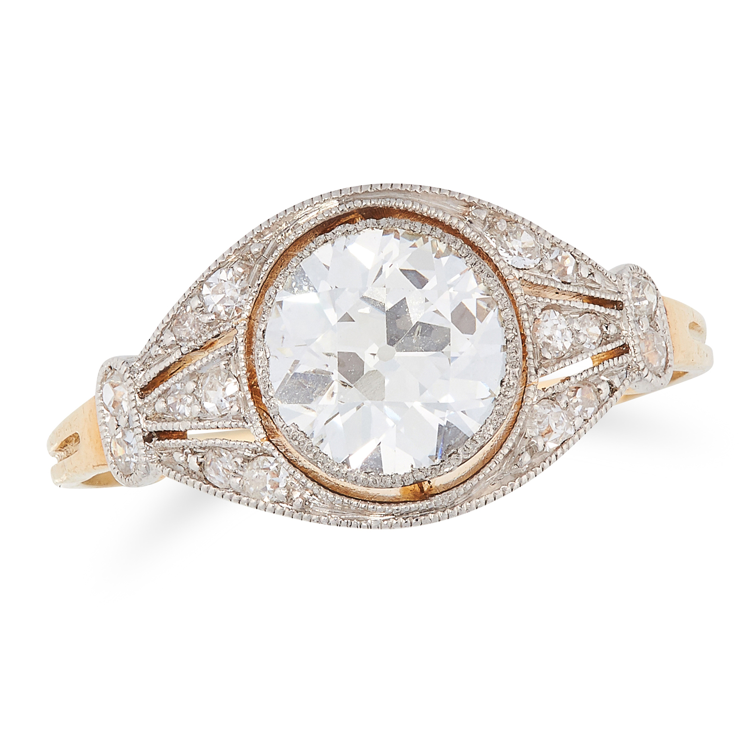 AN ANTIQUE DIAMOND DRESS RING, EARLY 20TH CENTURY in yellow gold, set with a central old round cut