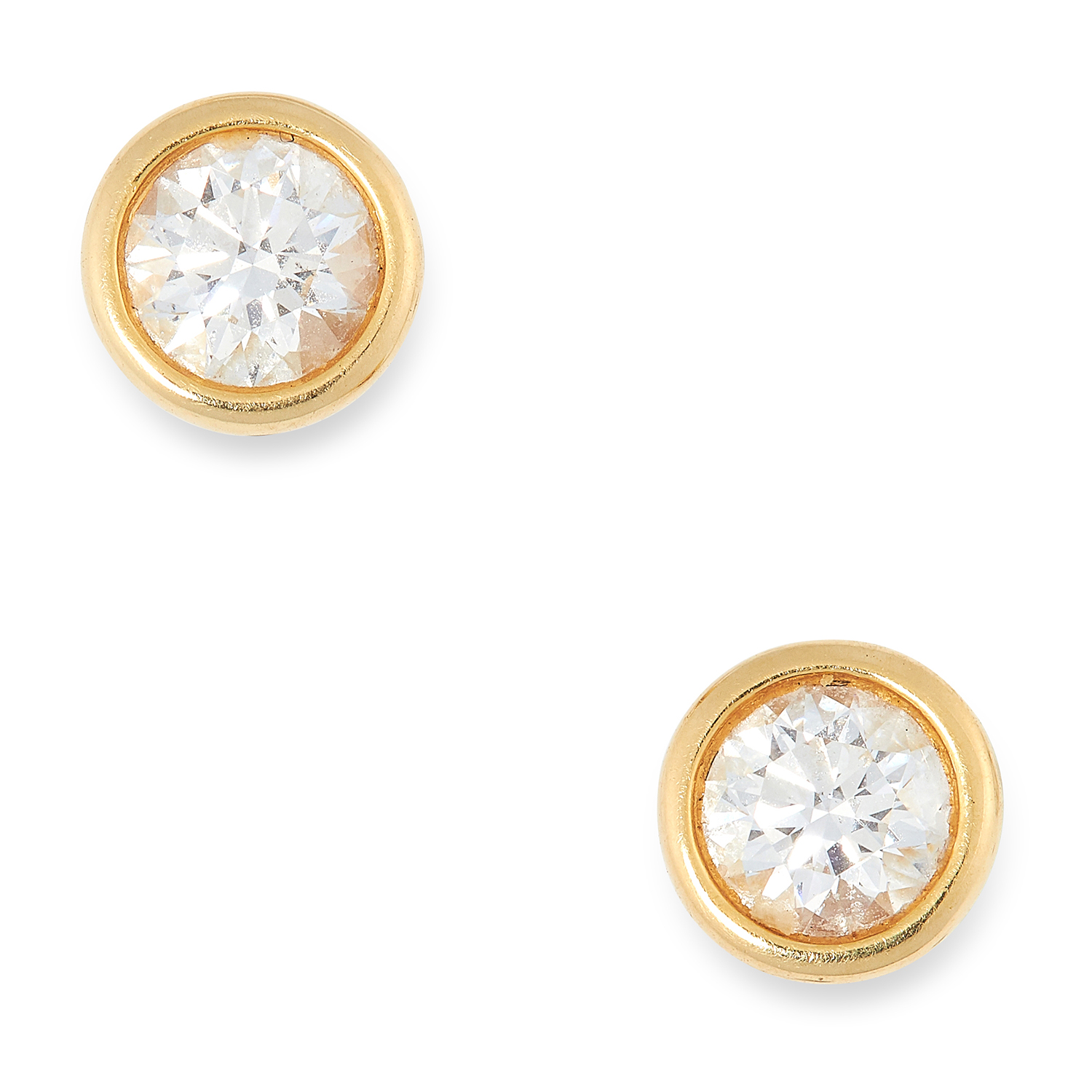 A PAIR OF 0.85 CARAT DIAMONDS BY THE YARD STUD EARRINGS, ELSA PERETTI FOR TIFFANY & CO set with