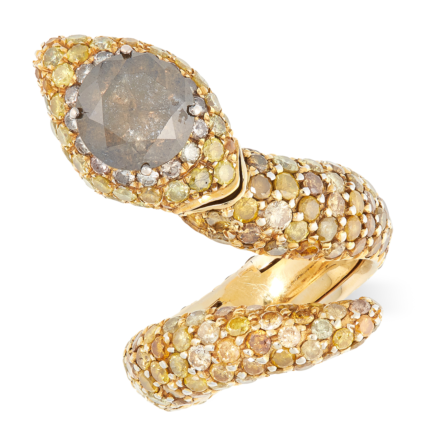 A YELLOW AND BROWN DIAMOND SNAKE RING the articulated body set with round brilliant cut yellow