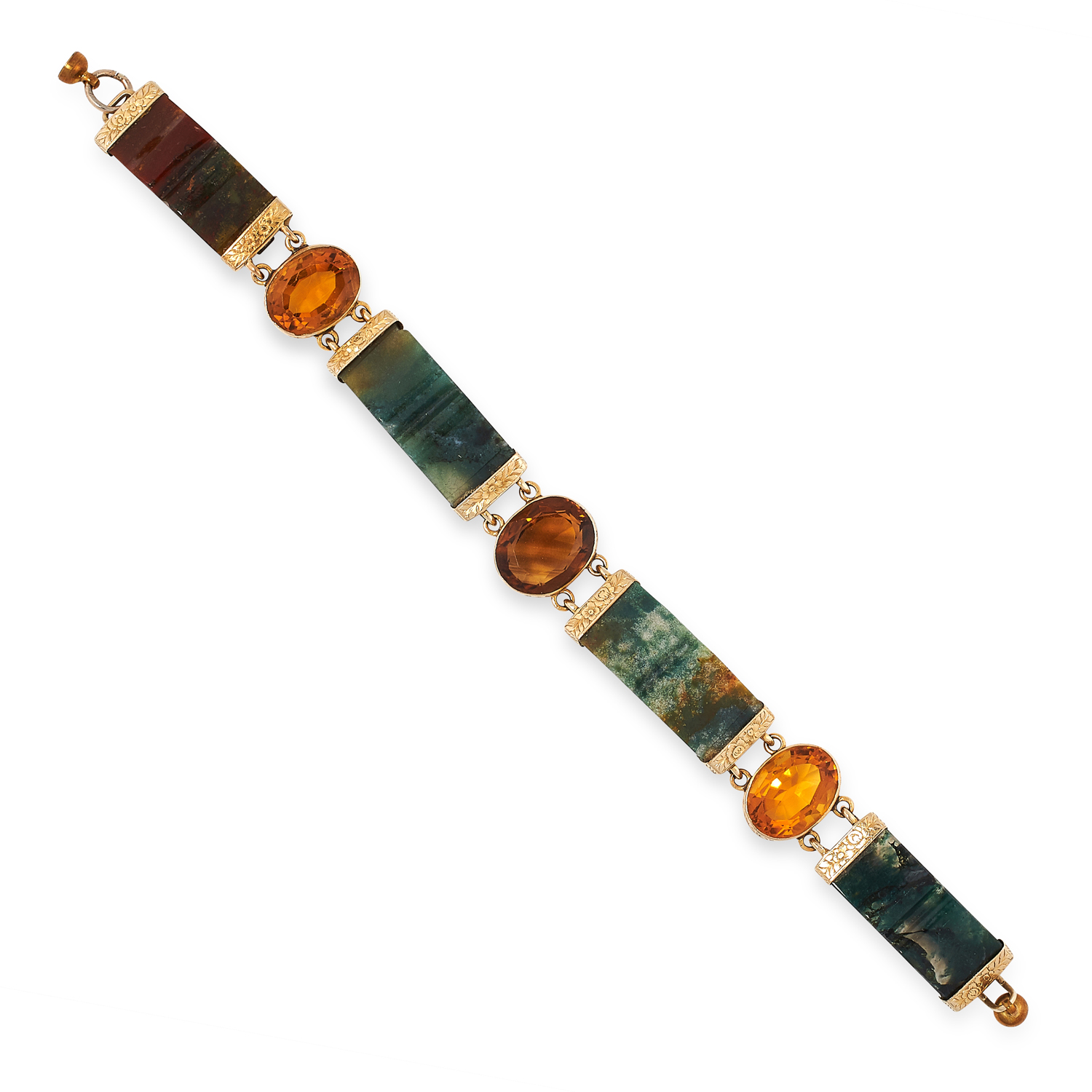 AN ANTIQUE SCOTTISH HARDSTONE AND CITRINE BRACELET comprising of carved and polished pieces of
