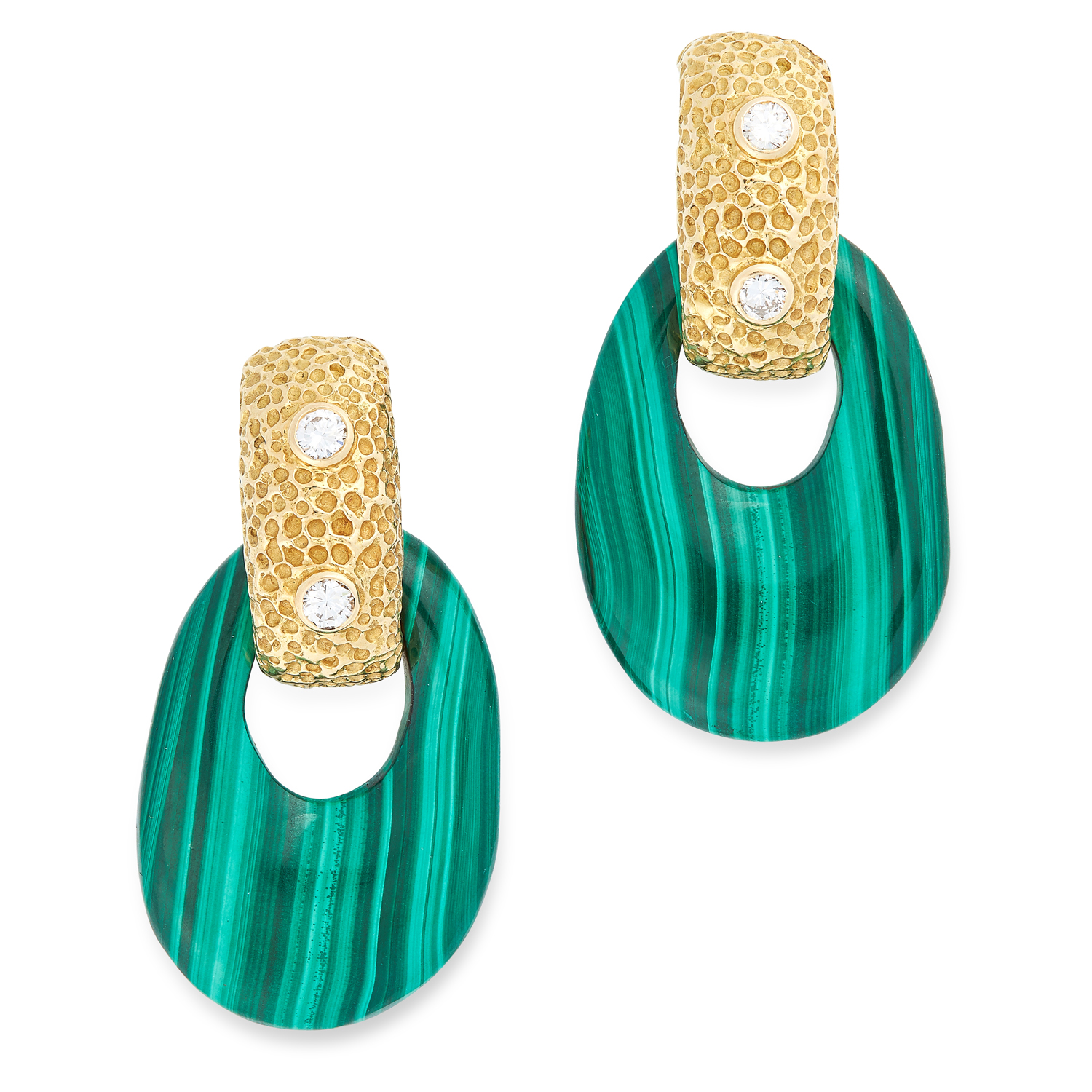 A PAIR OF VINTAGE MALACHITE AND DIAMOND EARRINGS, FRENCH CIRCA 1970 the textured hoop bodies each
