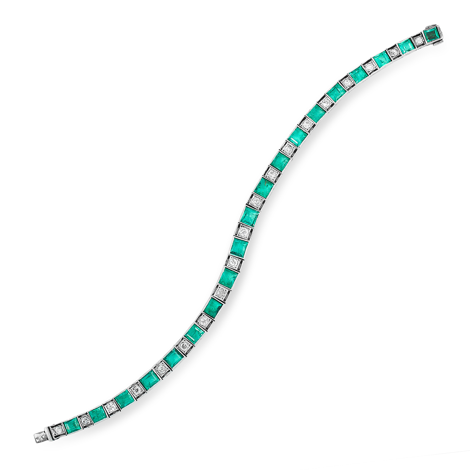 AN EMERALD AND DIAMOND LINE BRACELET set with round old cut diamonds and step cut emeralds, 19cm,