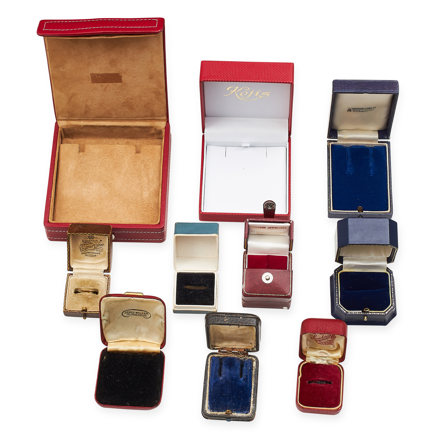 A SELECTION OF TEN VARIOUS ANTIQUE AND LATER JEWELLERY BOXES including some ring and earrings - Image 2 of 2