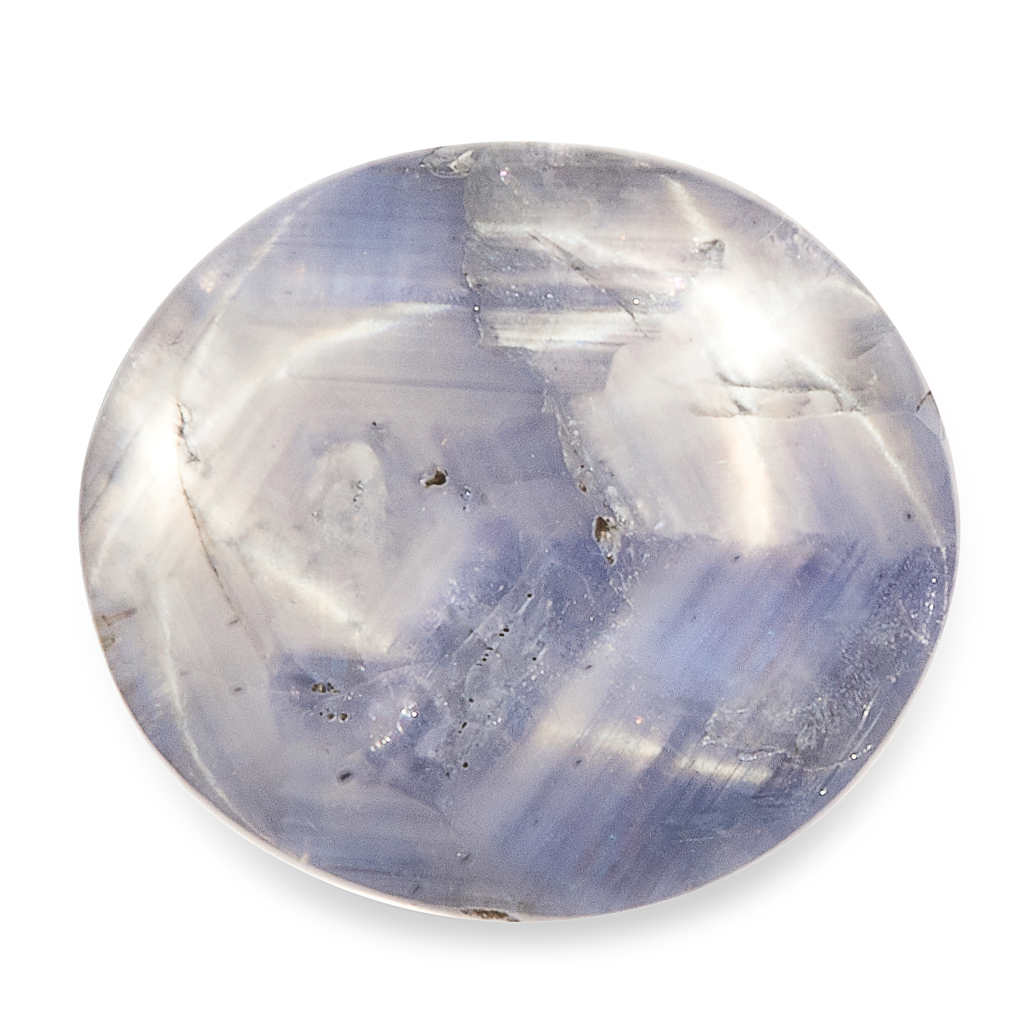 A NATURAL STAR SAPPHIRE showing a double star, of approximately 52.65 carats, 22.0mm. Accompanied by