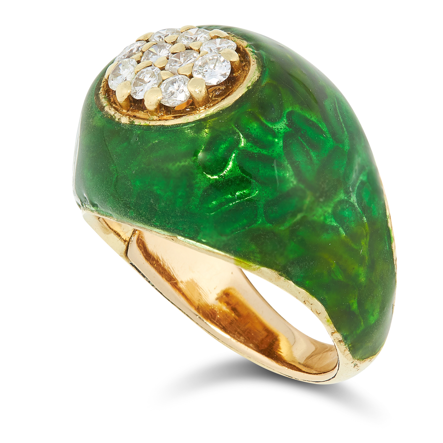 A DIAMOND AND ENAMEL DRESS RING set with round cut diamonds in a border of green enamel, size M / 6, - Image 2 of 2