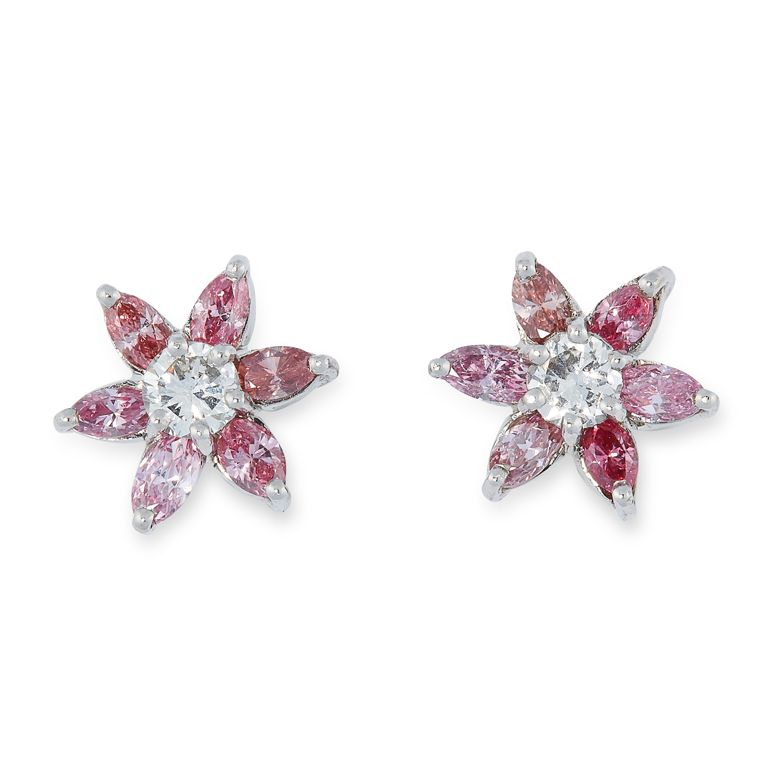 A PAIR OF PINK DIAMOND AND DIAMOND CLUSTER EARRINGS in platinum, each set with a round cut diamond