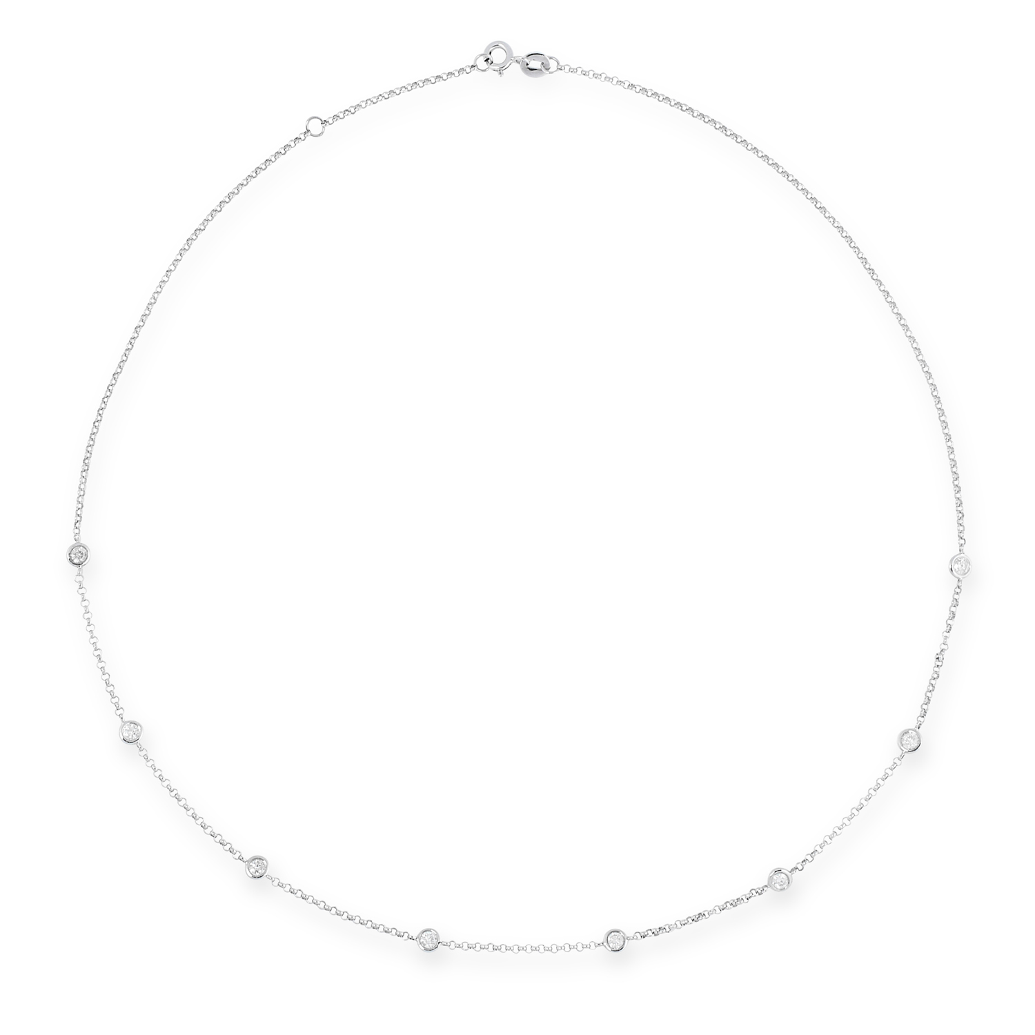 A DIAMOND CHAIN NECKLACE in 18ct white gold, set with eight round brilliant cut diamonds totalling