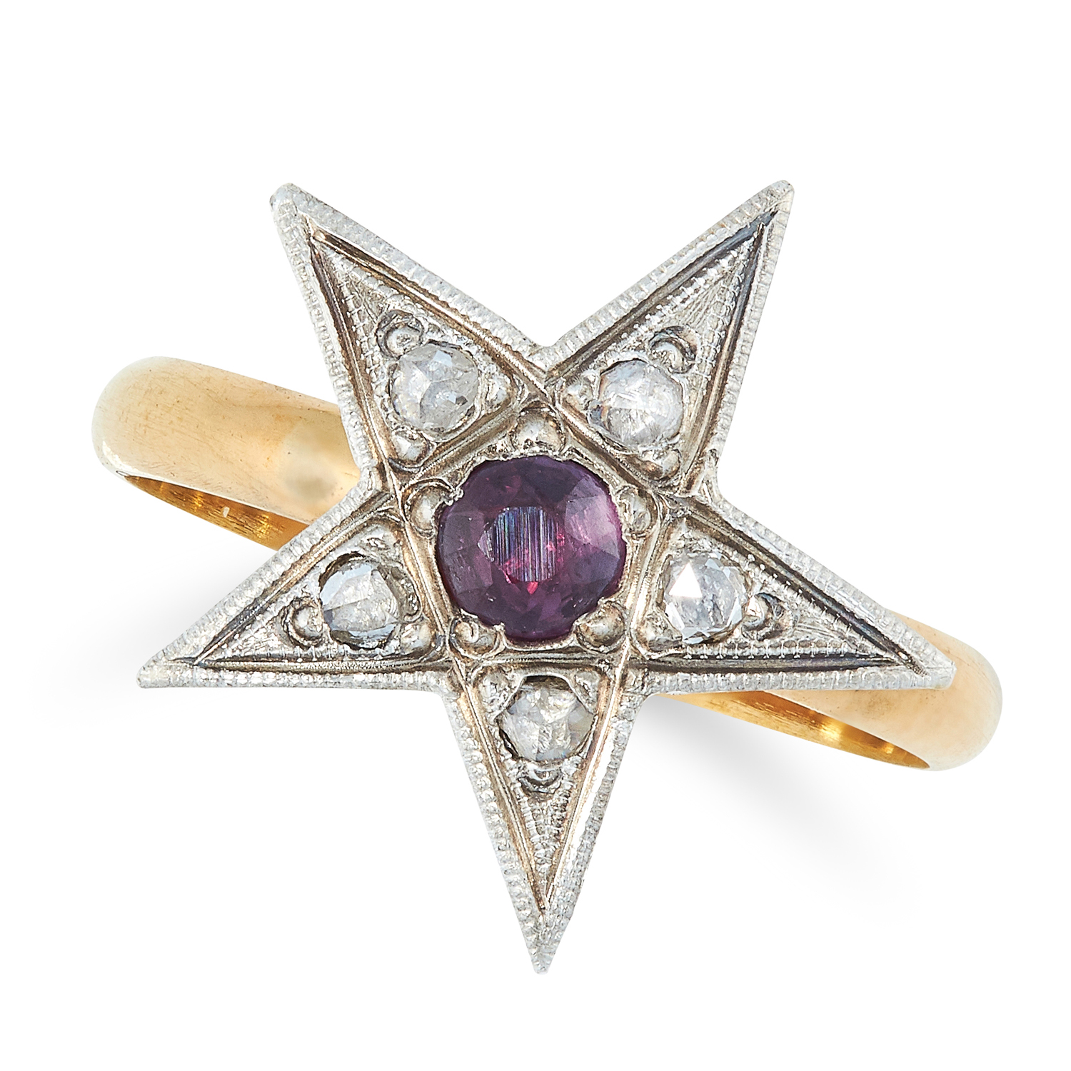 A RUBY AND DIAMOND STAR RING the star face set with a central round cut ruby and rose cut