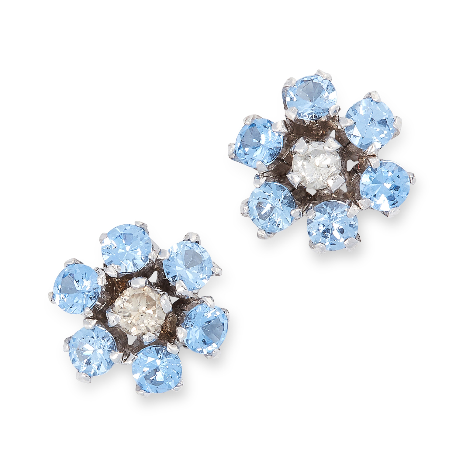 A PAIR OF BLUE TOPAZ AND DIAMOND CLUSTER STUD EARRINGS comprising of a round brilliant cut diamond