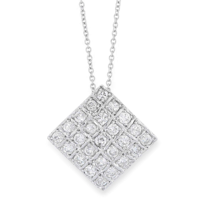 A DIAMOND PENDANT AND CHAIN in square design set with round brilliant cut diamonds, 1.5cm, 3.9g.