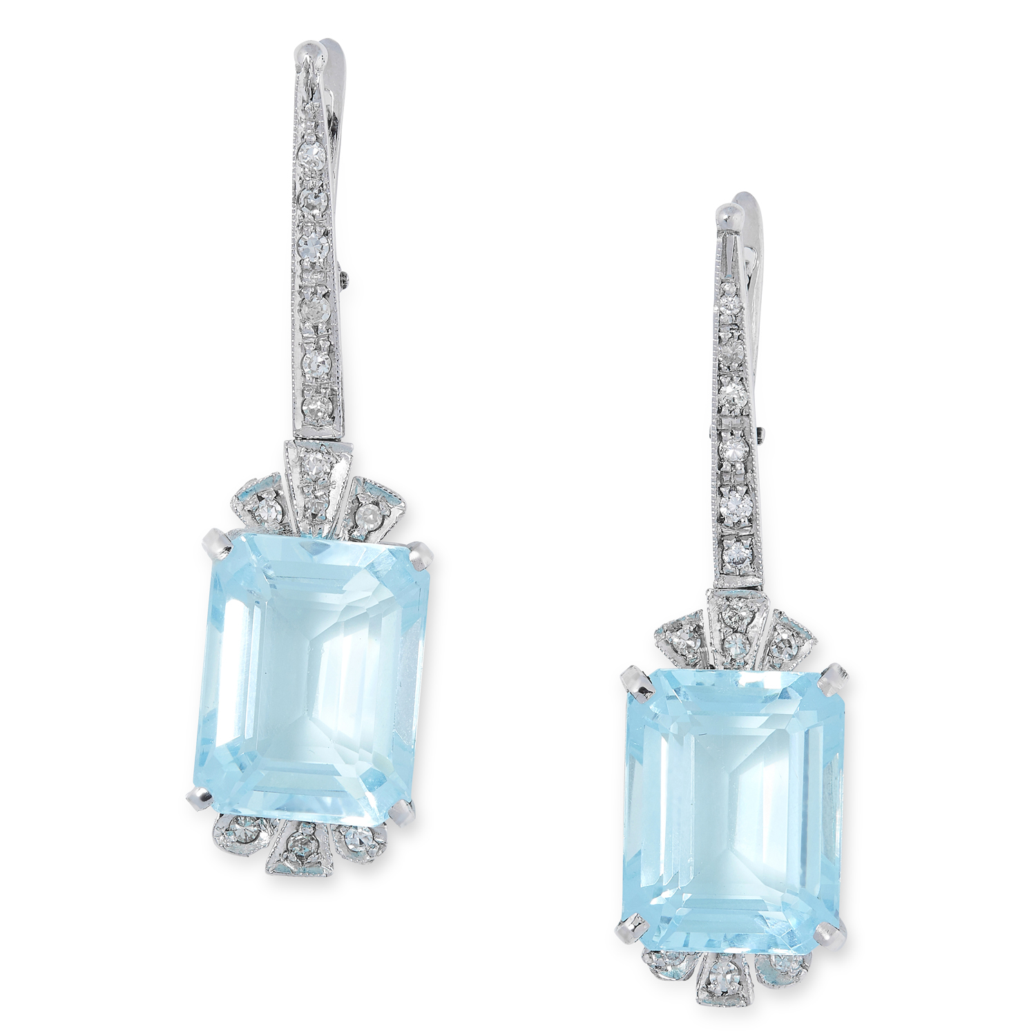 A PAIR OF BLUE TOPAZ AND DIAMOND EARRINGS set with emerald cut blue topaz and round brilliant cut
