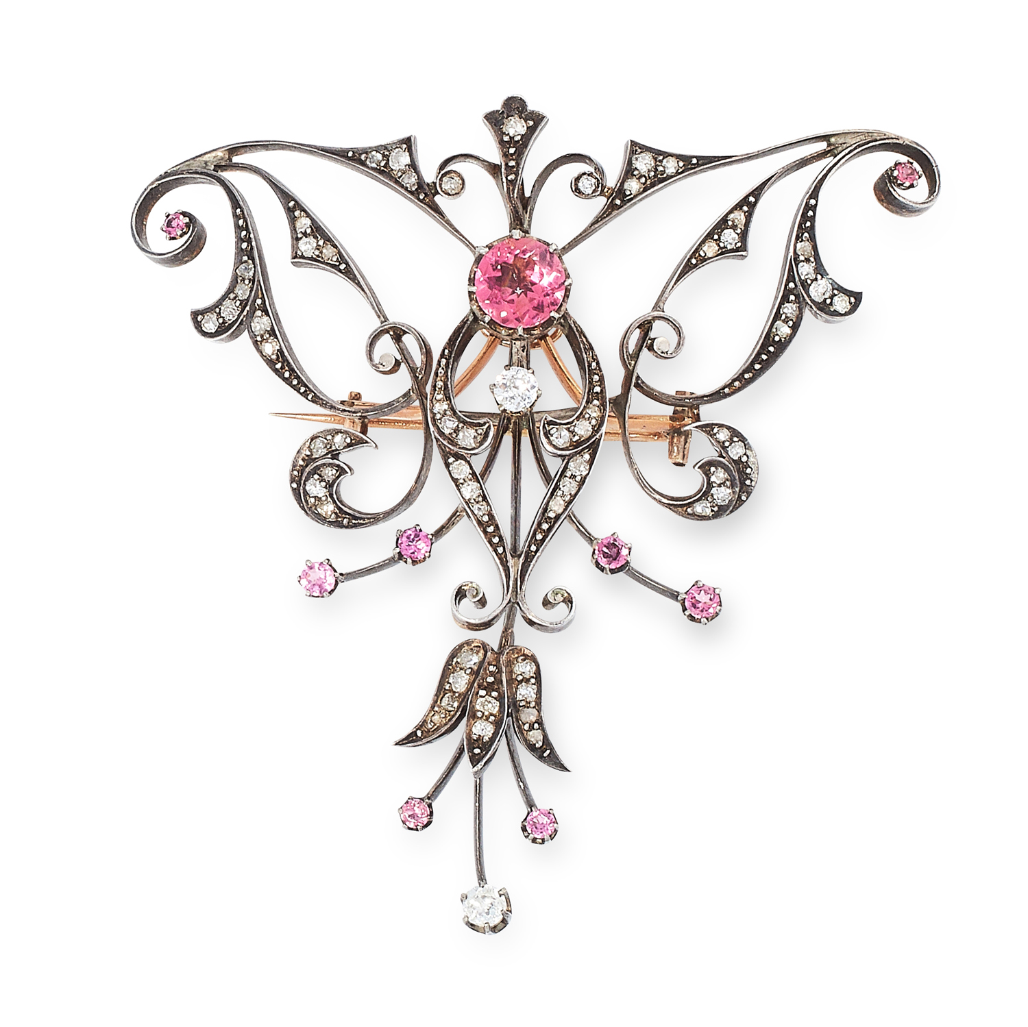 AN ANTIQUE PINK TOURMALINE AND DIAMOND BROOCH, CIRCA 1900 in yellow gold and silver, comprising