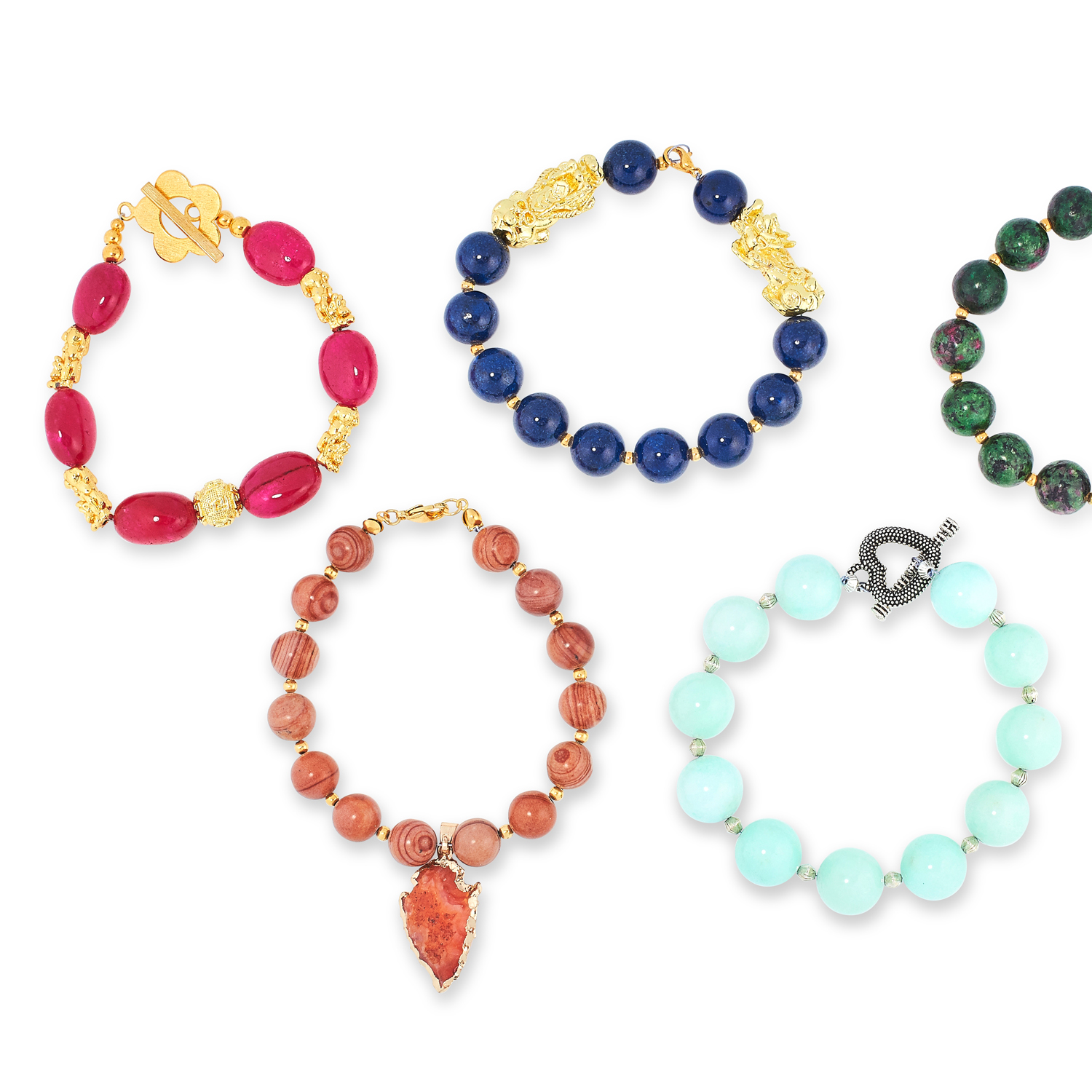 A MIXED LOT OF GEMSTONE BEAD NECKLACES, EARRINGS AND BRACELETS including jade, emerald, lapis - Image 12 of 13